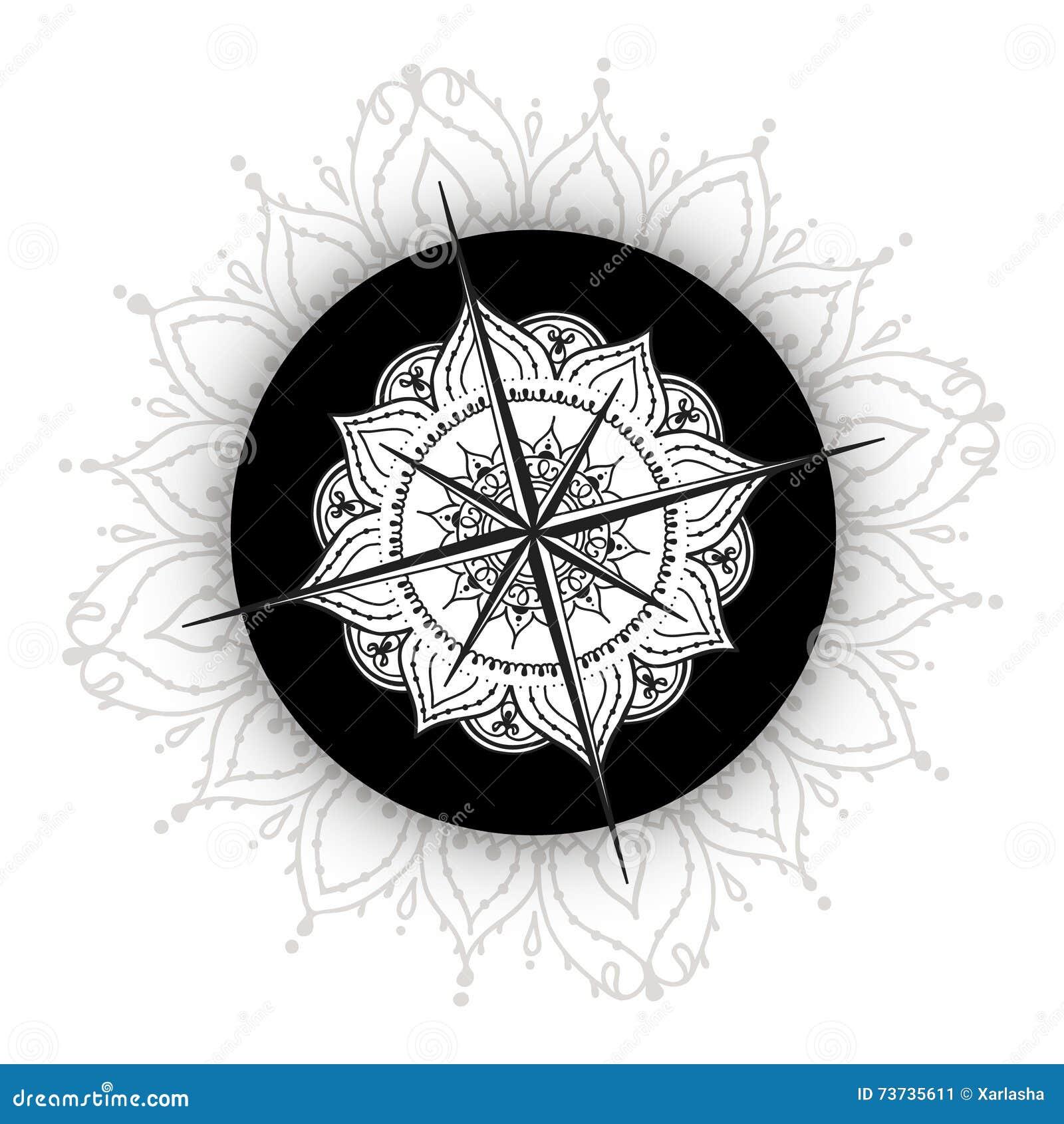 Boussole Rose De Vent Graphique Dessinee Avec Les Elements Floraux
