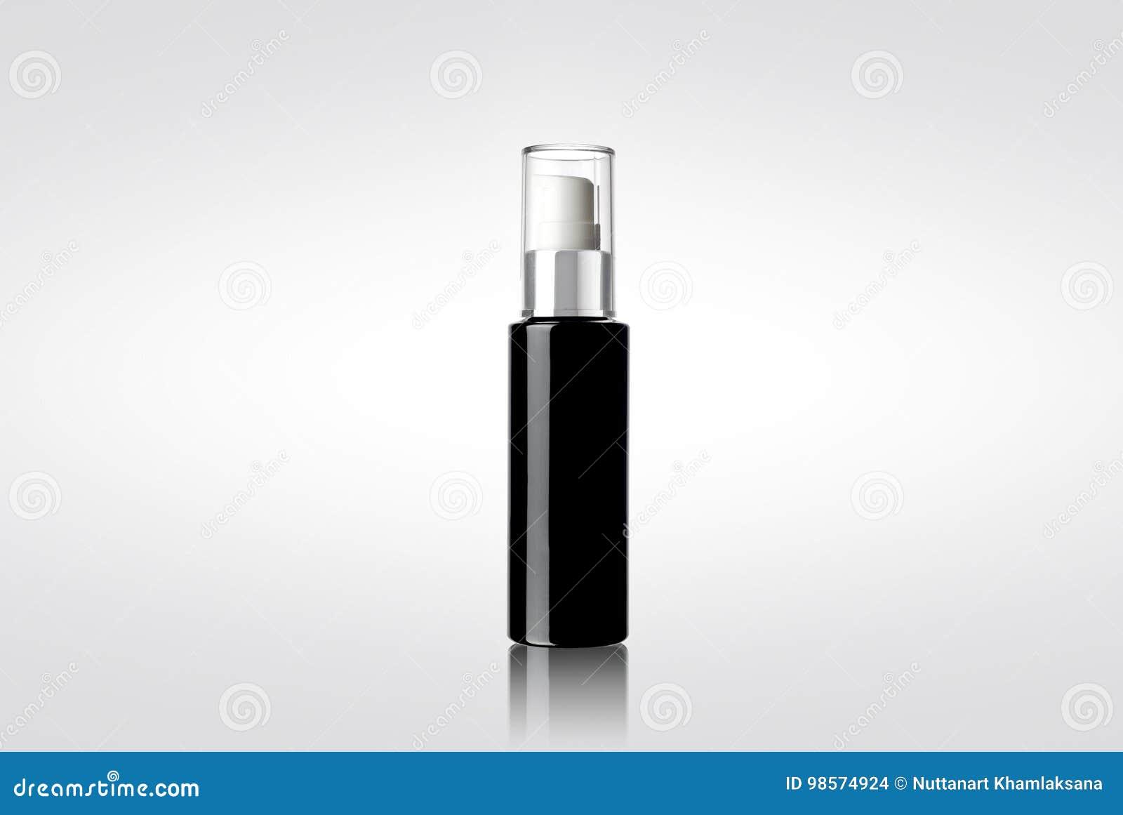 Bouteille cosmétique brillante noire de jet