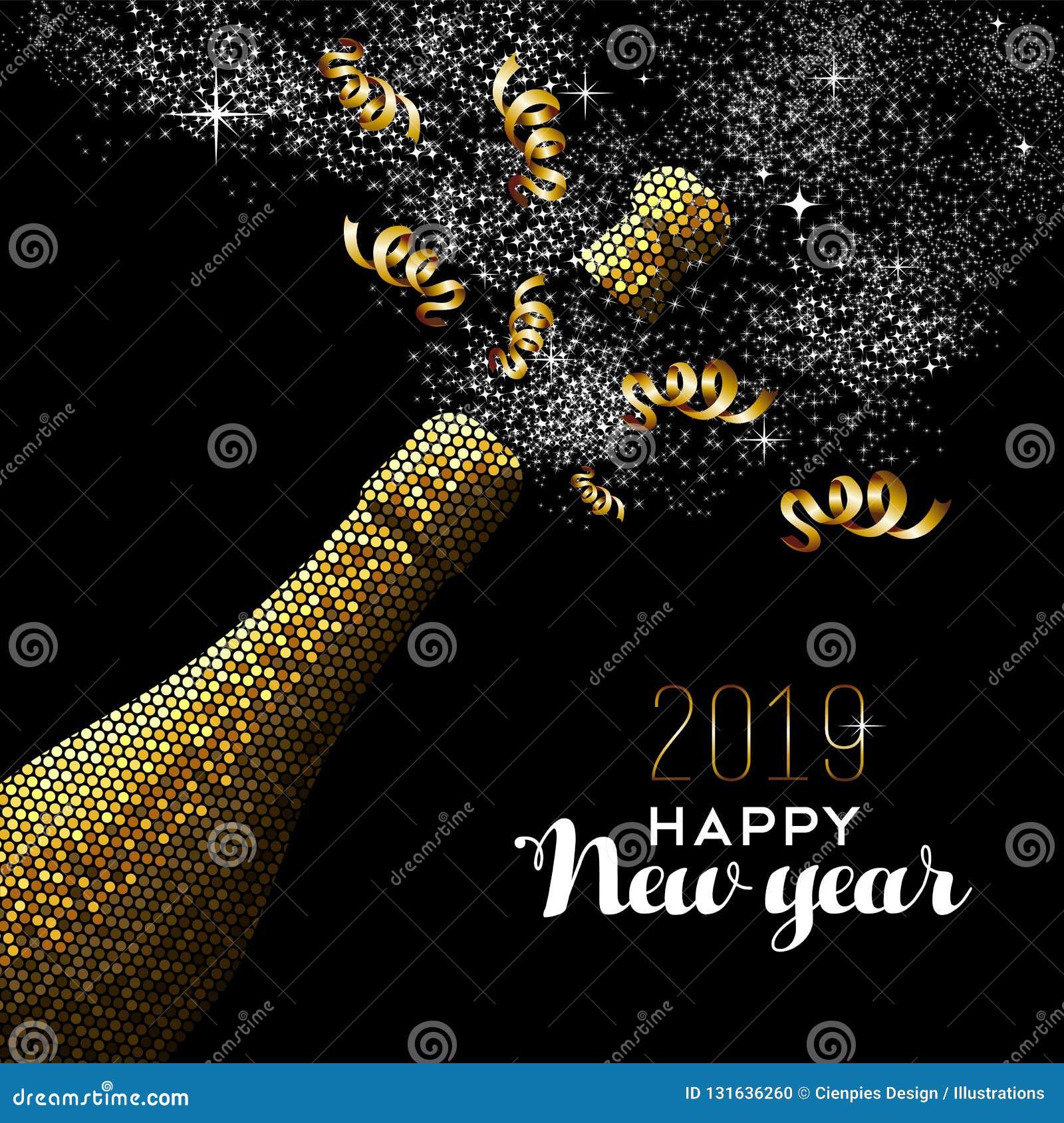 Bouteille de champagne d or de luxe de la bonne année 2019