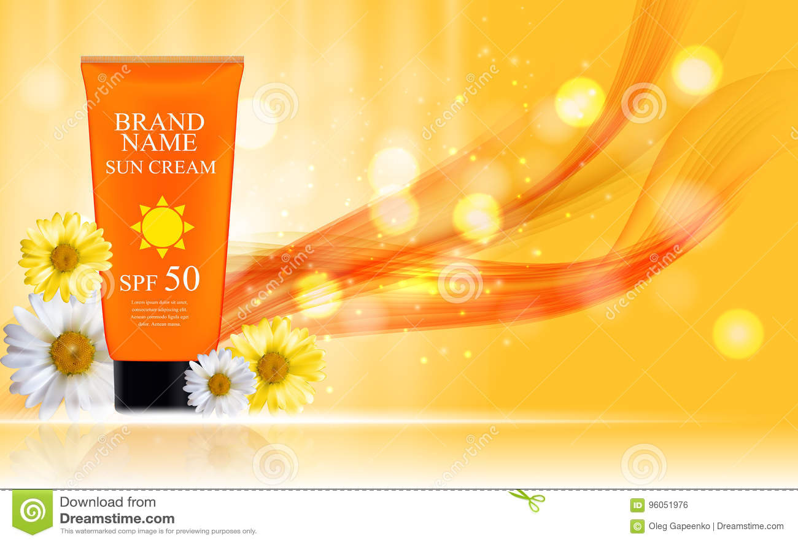 Bouteille de crème de soin de Sun, tube avec le calibre de camomille de fleurs pour