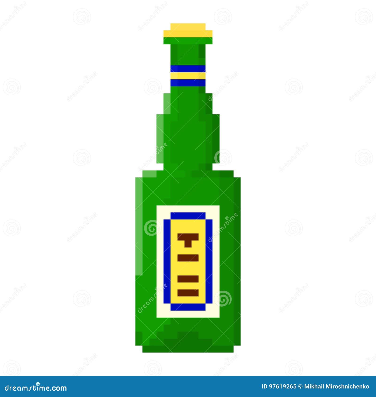 Bouteille De Pixel De Bière Illustration Stock