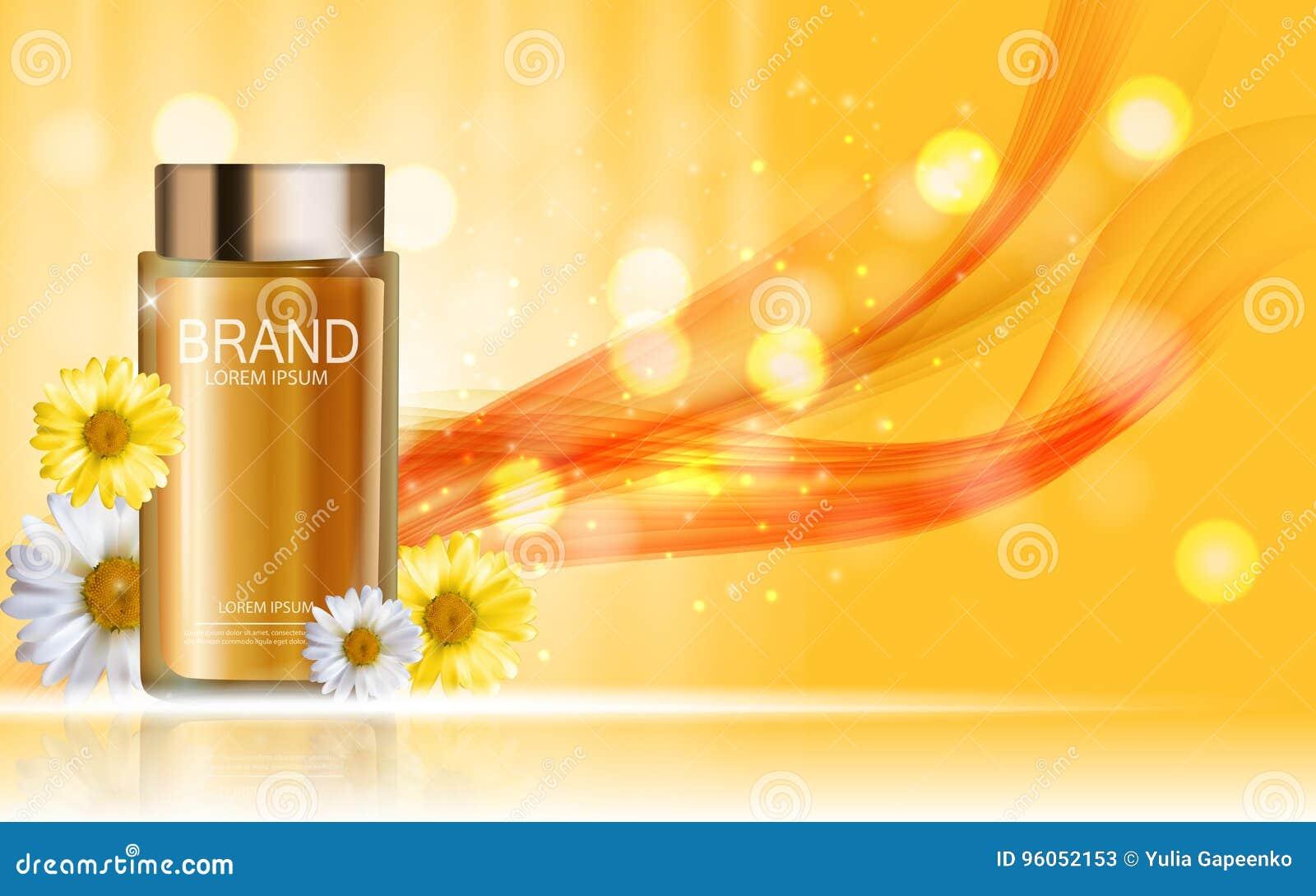 Bouteille de produit de cosmétiques de conception avec le calibre de camomille de fleurs