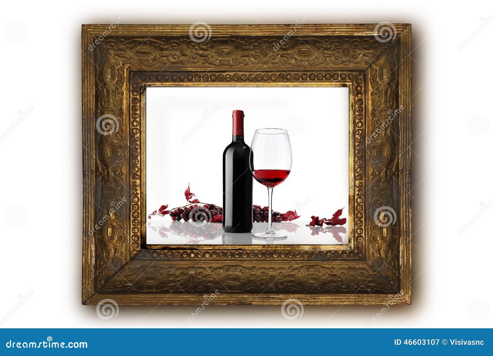 Bouteille De Vin Avec Le Cadre En Bois De Raisins Rouges