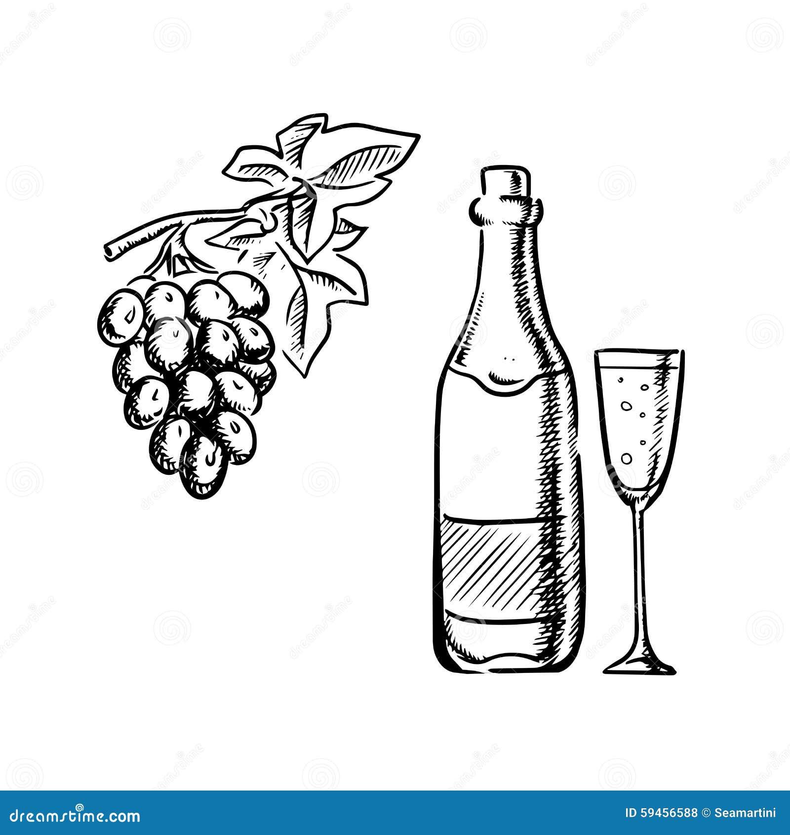 Bouteille De Vin, Verre Et Croquis De Raisins Illustration