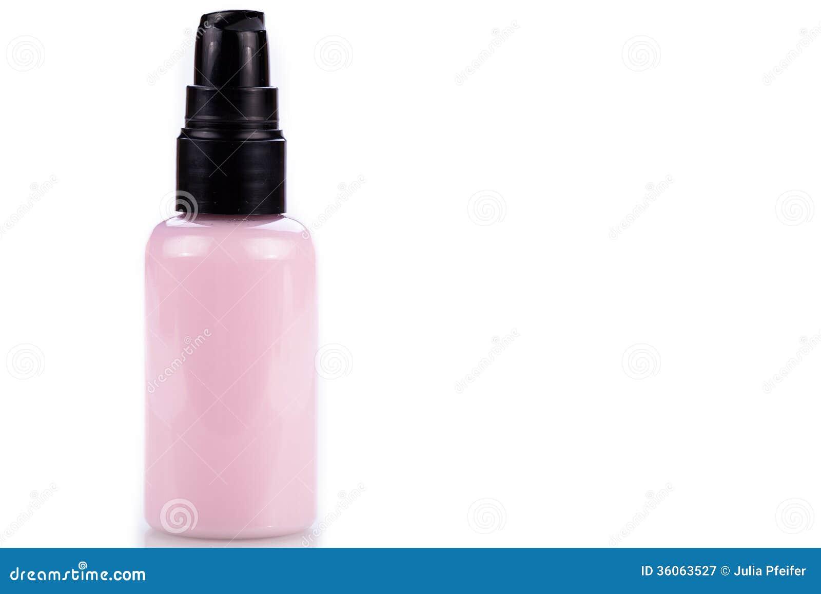 bouteille en plastique rose de cr me cosm tique sur le blanc image stock image 36063527. Black Bedroom Furniture Sets. Home Design Ideas