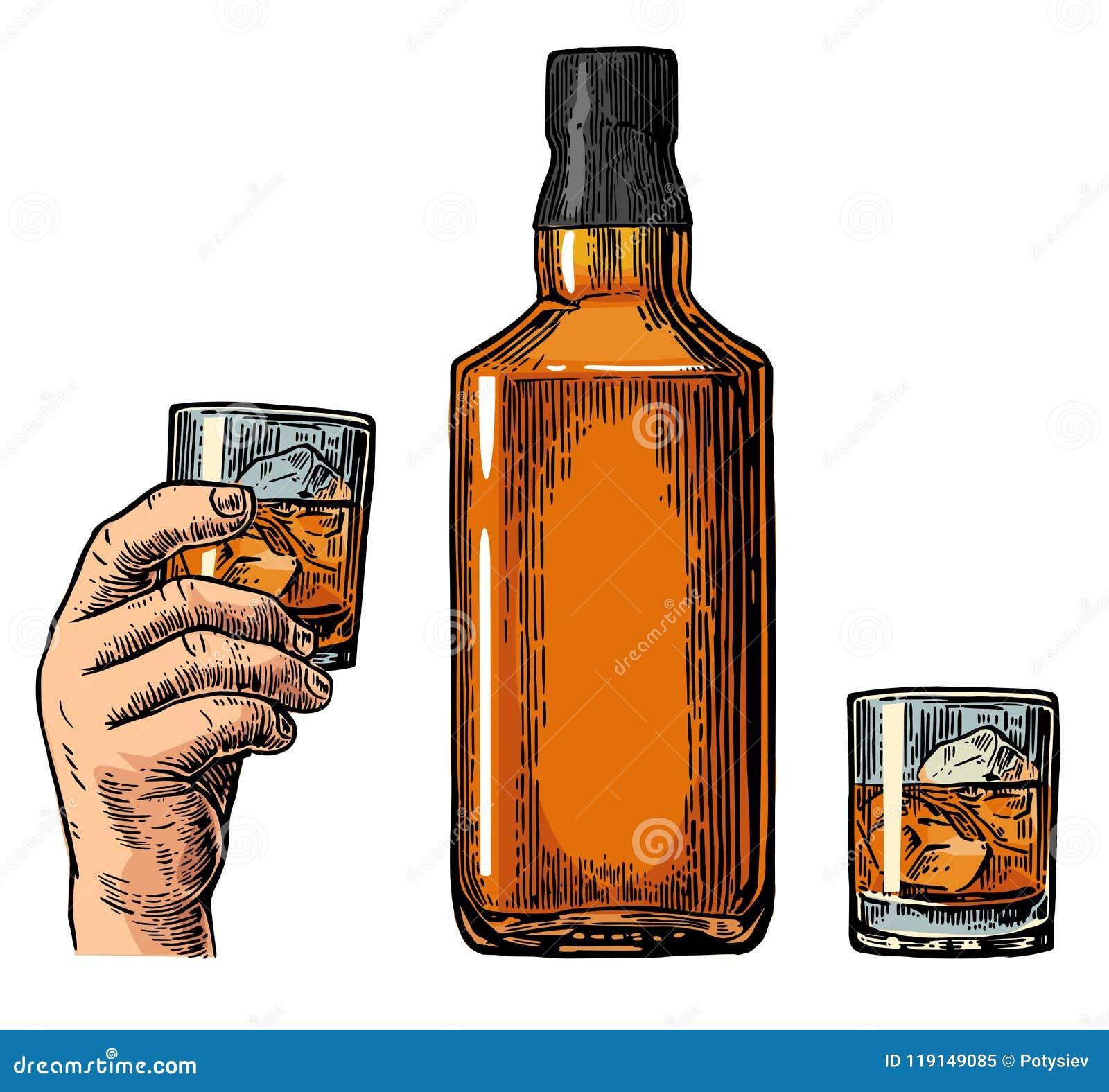 Bouteille Et Main De Whiskey Tenant Le Verre Illustration de