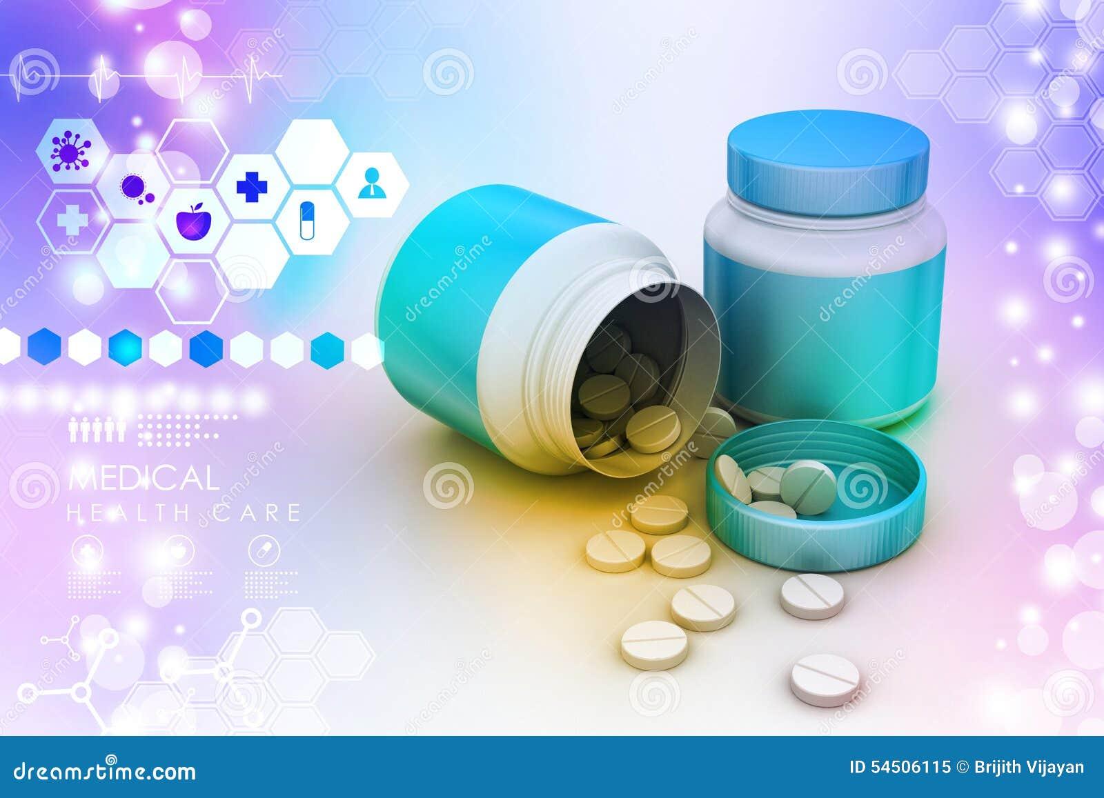 Bouteille et pillules de médecine