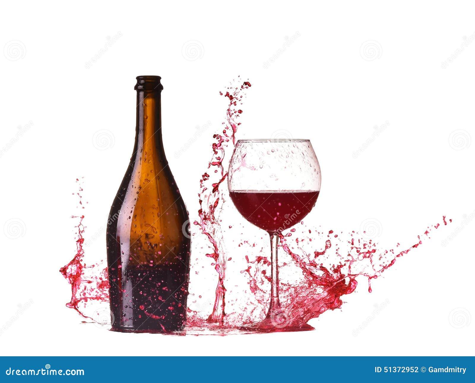 Bouteille et verre avec le vin rouge claboussure de vin rouge vin versant sur la table d - La bouteille sur la table ...