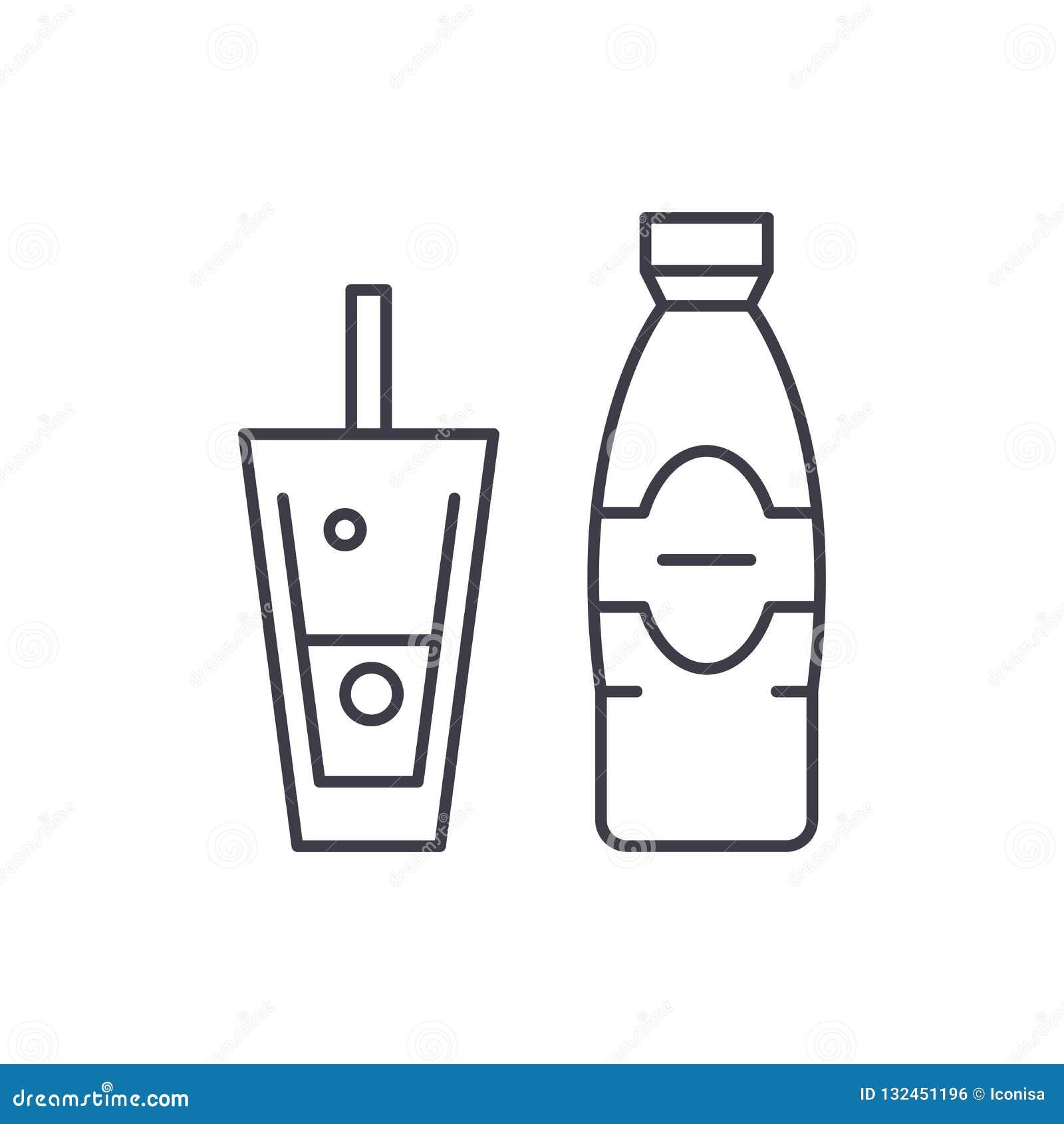 d78ace0190 Bouteille et verre de ligne de flottaison minérale concept d'icône Bouteille  et verre d'illustration linéaire de vecteur de l'eau minérale, signe,  symbole