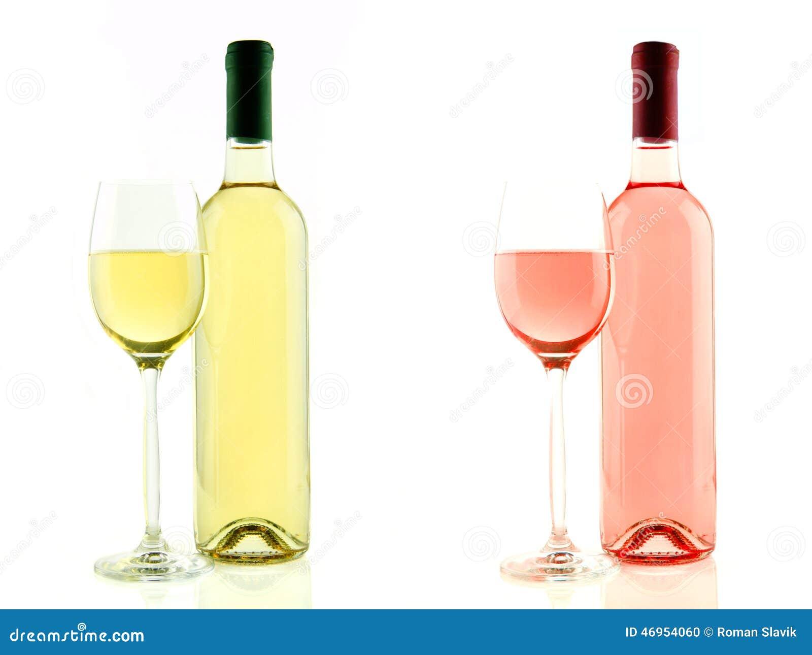 bouteille et verre de vin blanc et ros d 39 isolement photo stock image 46954060. Black Bedroom Furniture Sets. Home Design Ideas