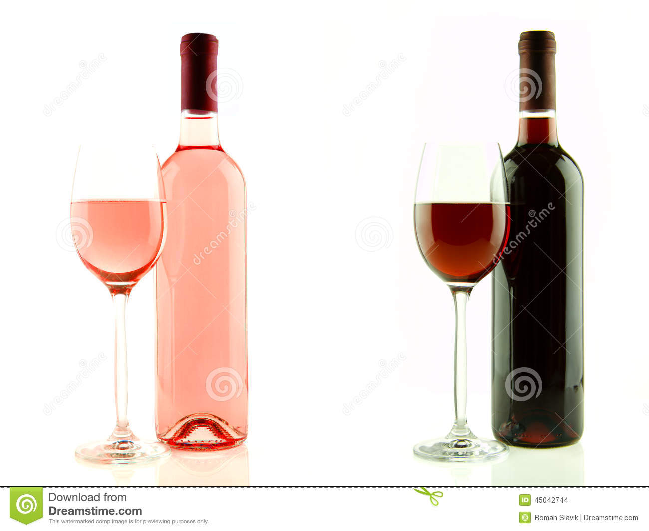 bouteille et verre de vin rose et rouge d 39 isolement photo stock image du isolement. Black Bedroom Furniture Sets. Home Design Ideas