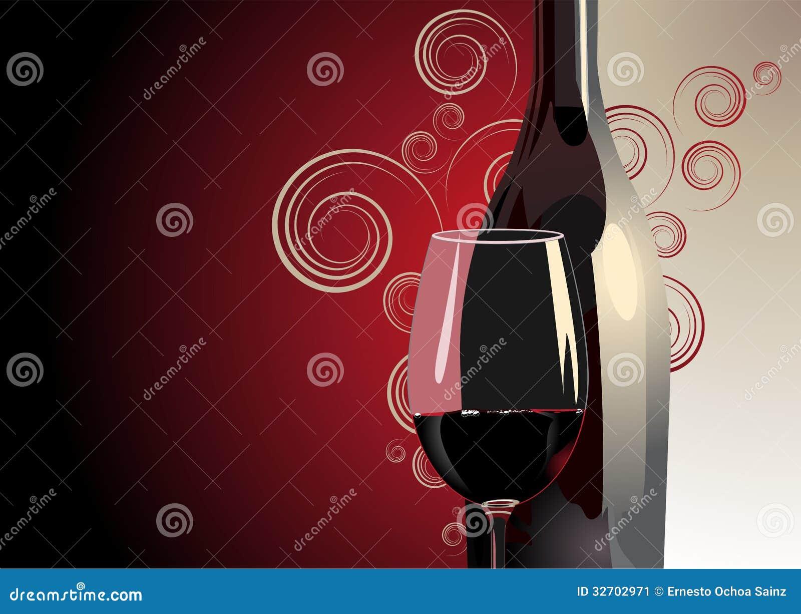 bouteille et verre de vin rouge illustration de vecteur illustration du wineglass romantique. Black Bedroom Furniture Sets. Home Design Ideas