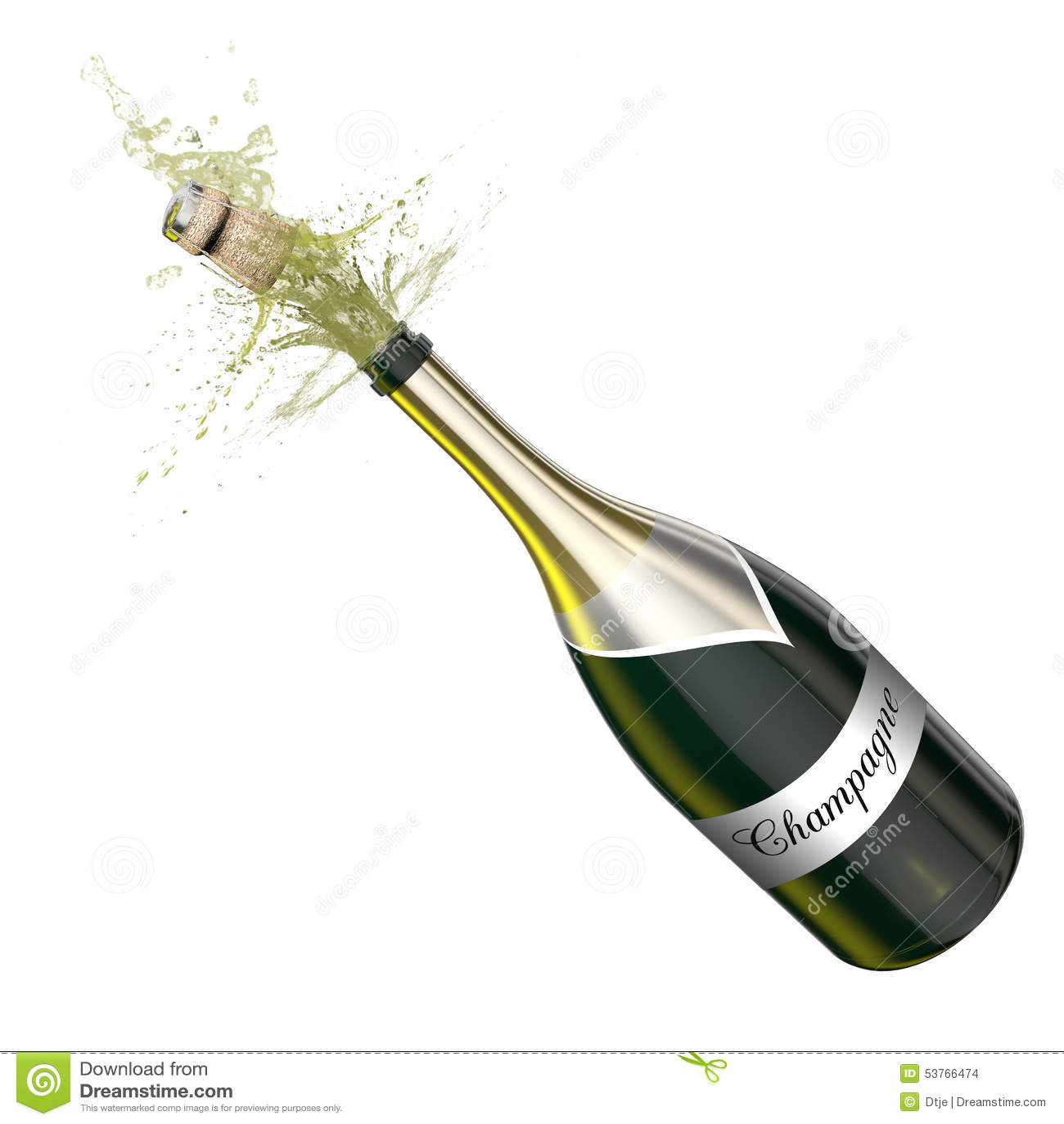 bouteille ouverte avec le champagne cumant illustration stock image 53766474. Black Bedroom Furniture Sets. Home Design Ideas
