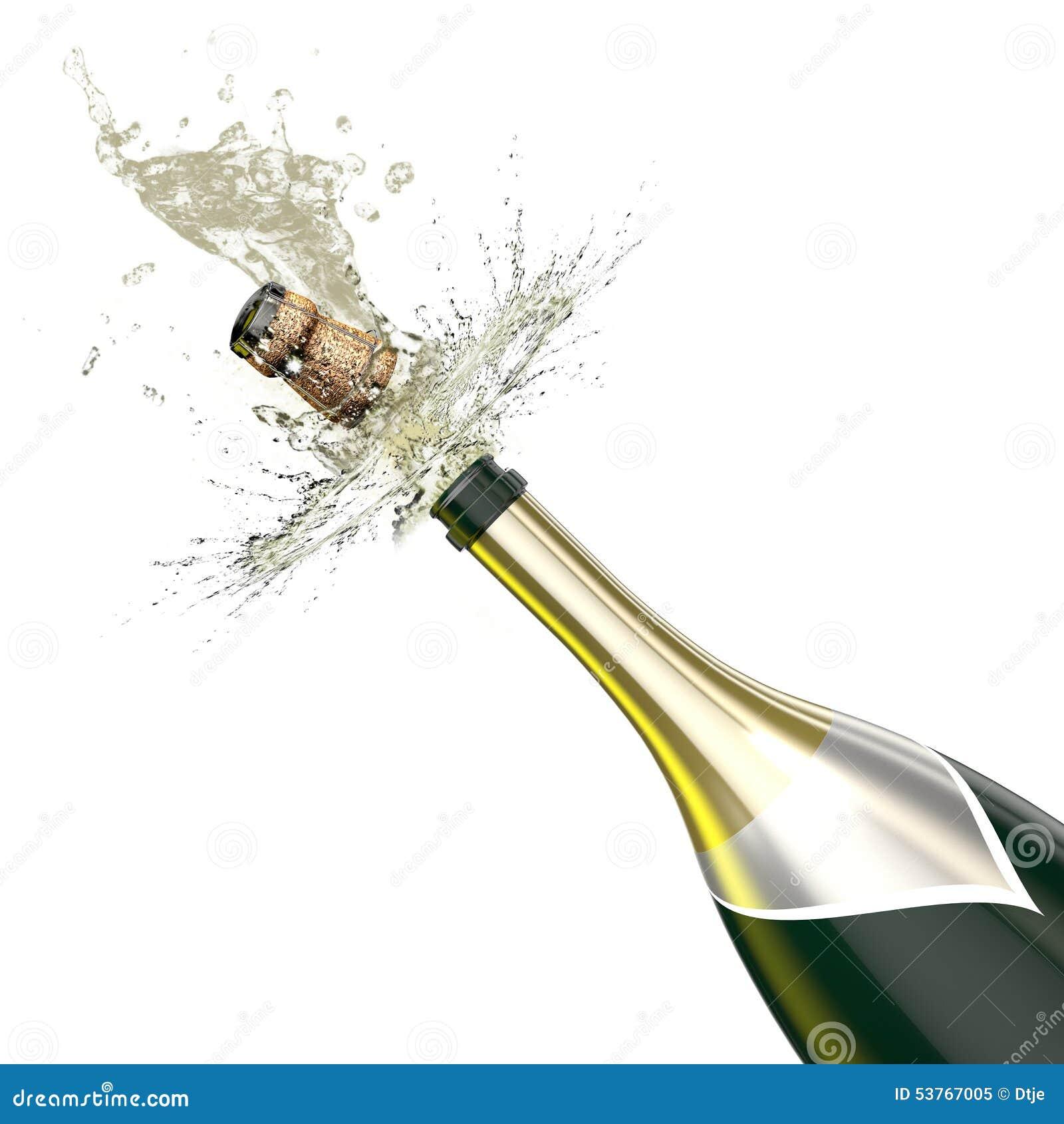 bouteille ouverte de champagne avec une fin vers le haut de vue sur le li ge illustration stock. Black Bedroom Furniture Sets. Home Design Ideas