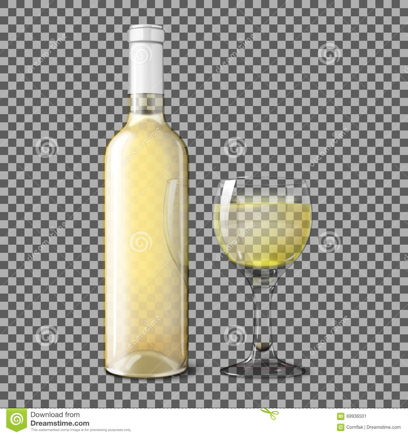 bouteille r aliste transparente pour le vin blanc avec le verre sur le fond de plaid vecteur. Black Bedroom Furniture Sets. Home Design Ideas