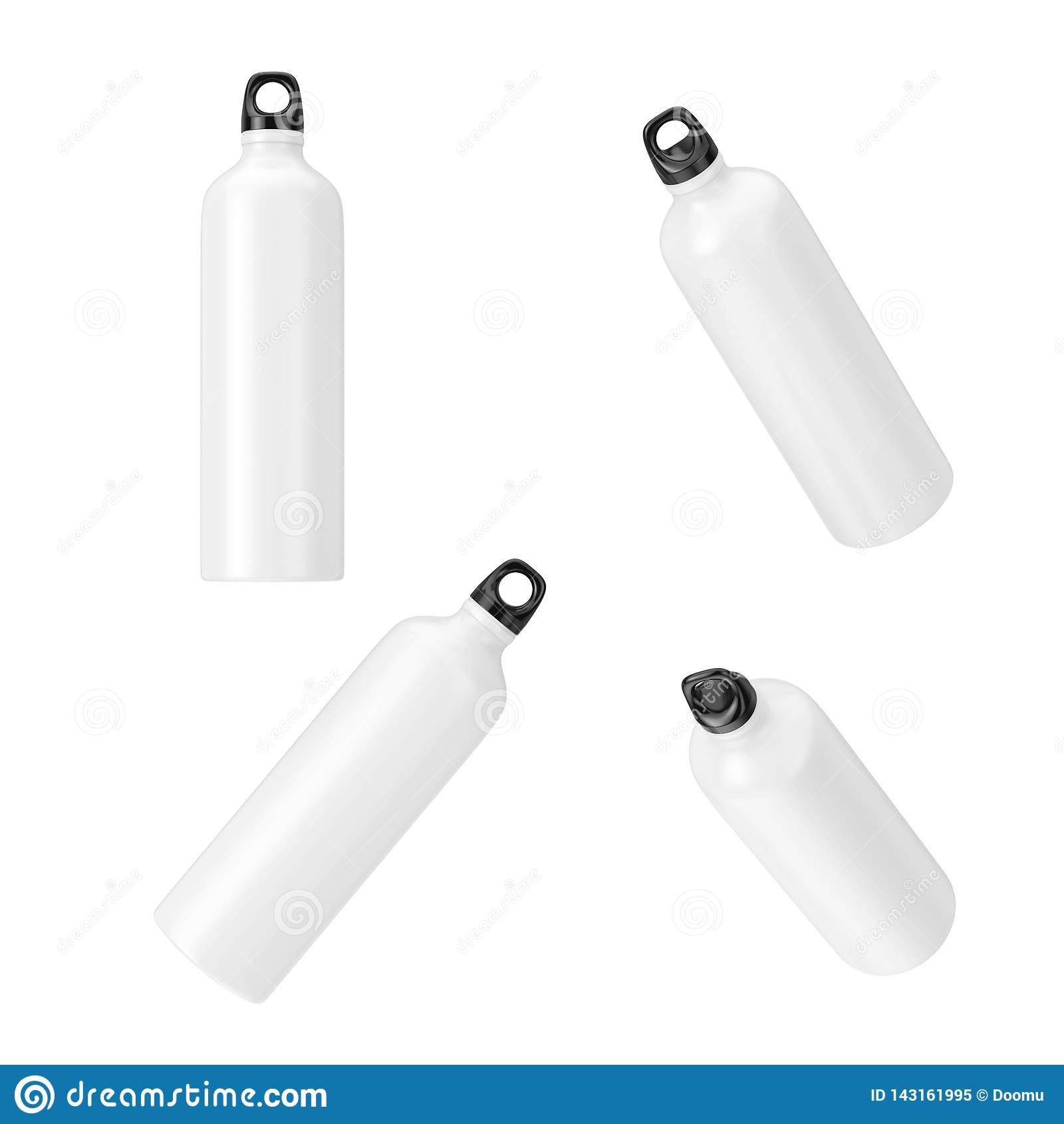 Bouteilles d eau potables en plastique de sport blanc en position différente rendu 3d
