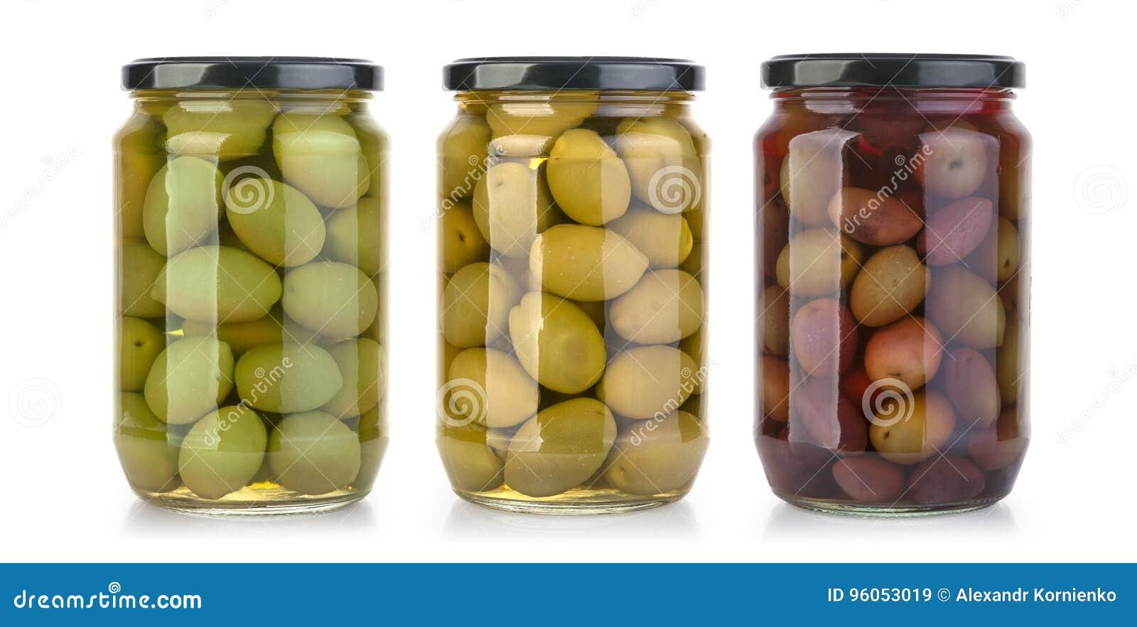 Bouteilles d olives sur un blanc