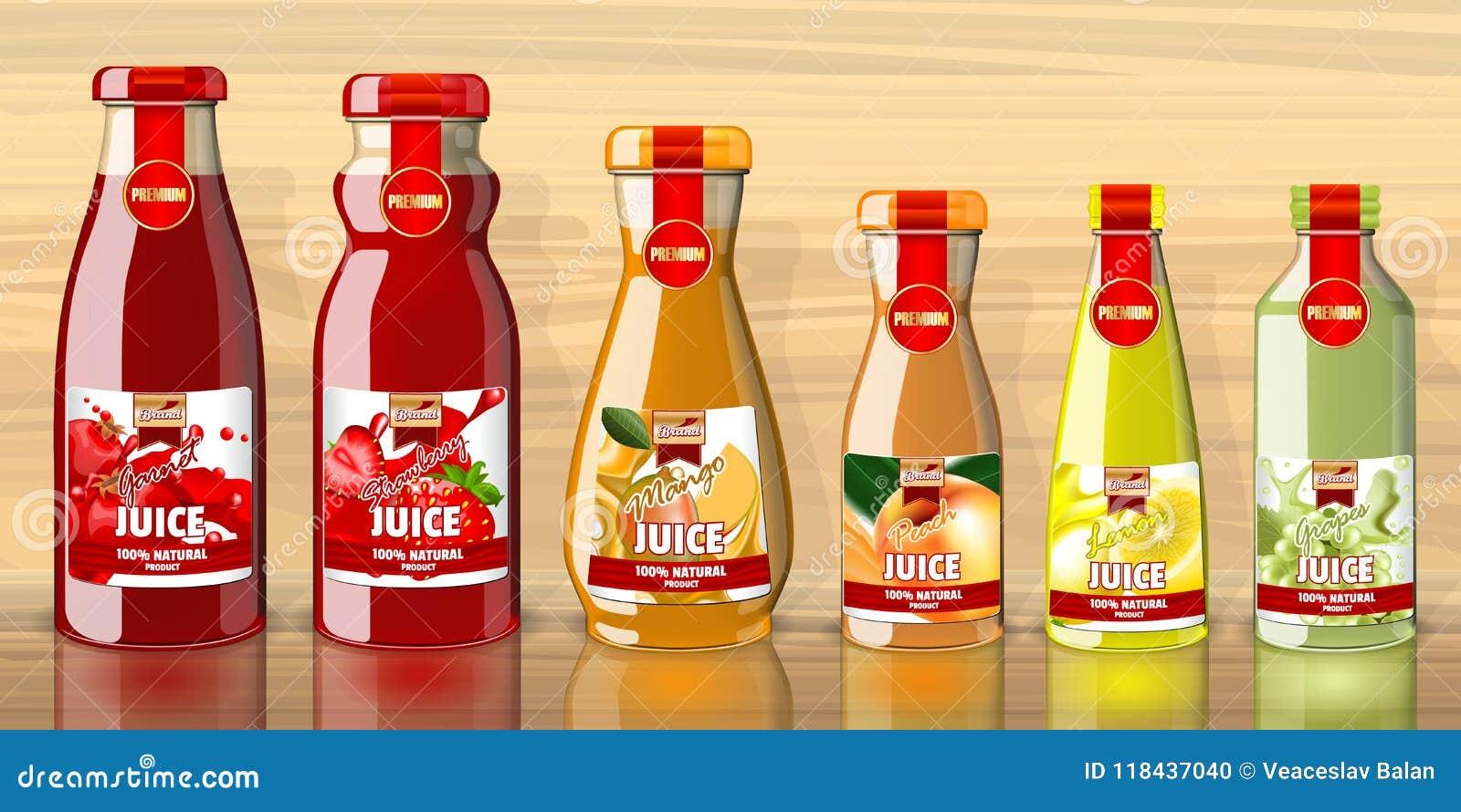 Bouteilles de jus avec la maquette de lables de fruits