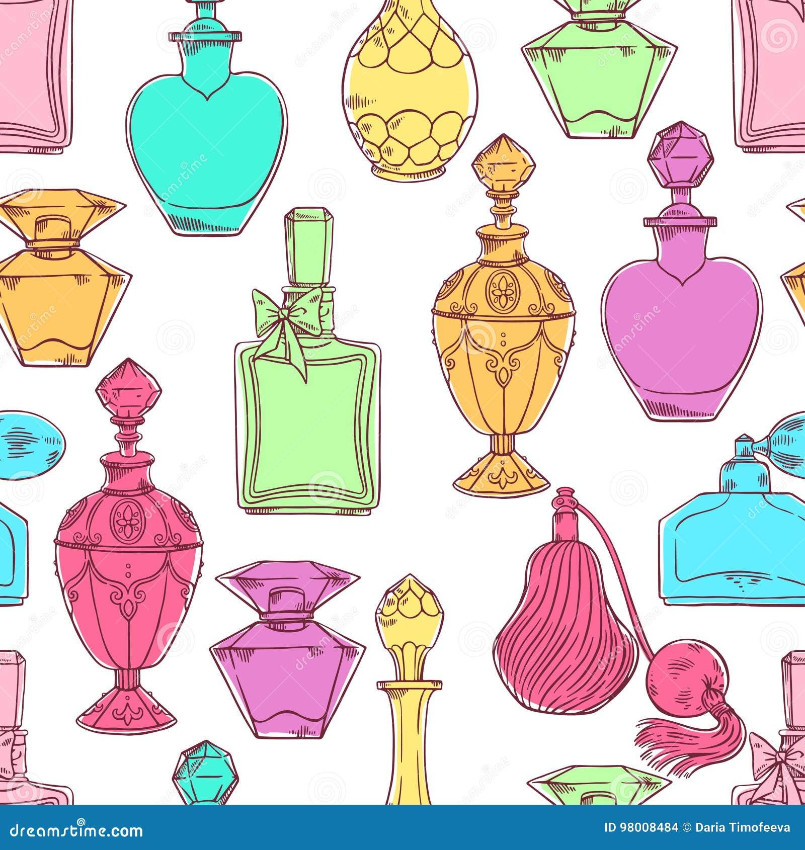 Bouteilles de parfum colorées des femmes sans couture