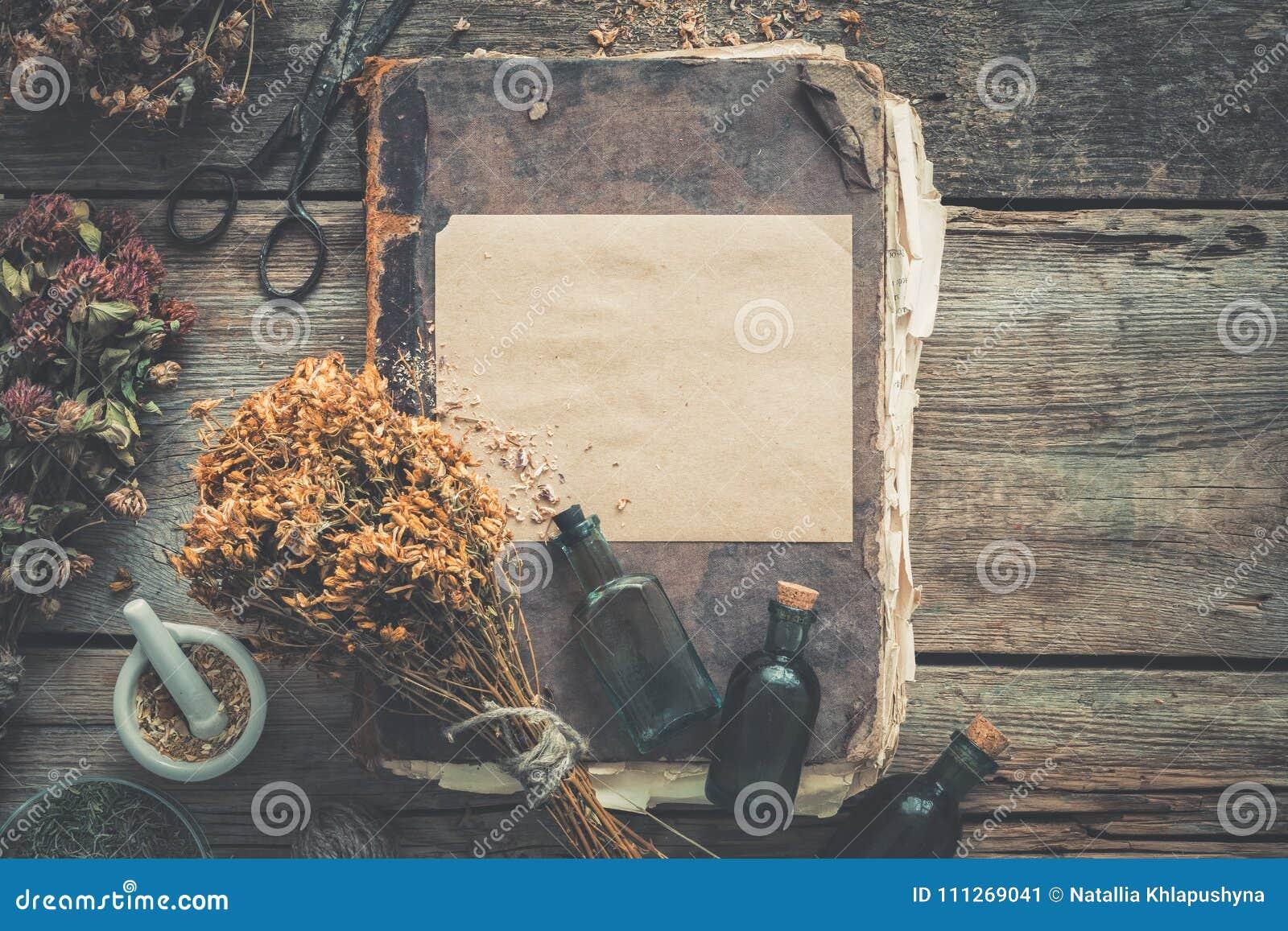 Bouteilles de teinture, assortiment des herbes saines sèches, vieux livres, mortier, ciseaux Le perforatum de fines herbes de Med