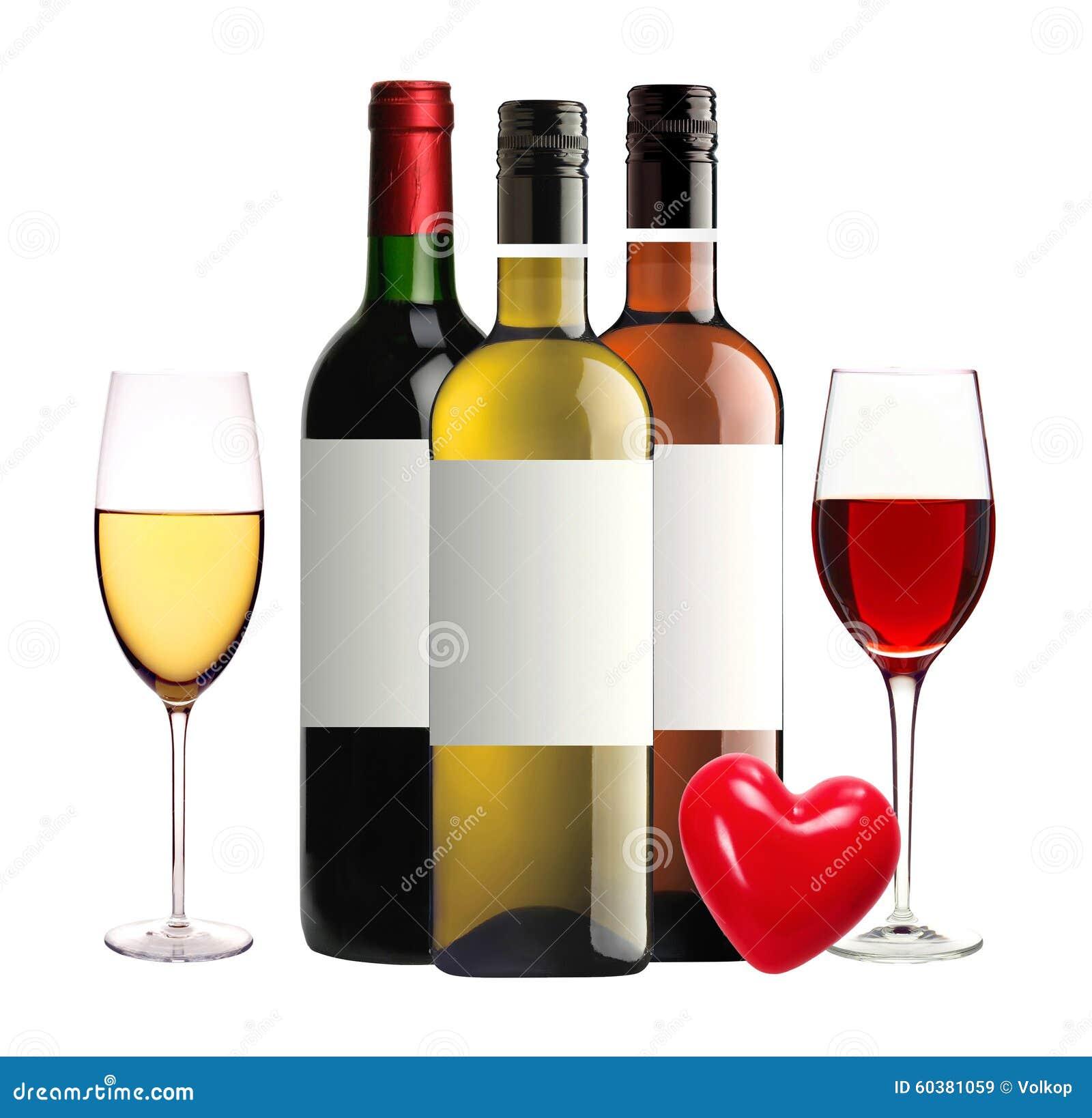 bouteilles de vin rouge rose et blanc et de verres vin d 39 isolement photo stock image 60381059. Black Bedroom Furniture Sets. Home Design Ideas