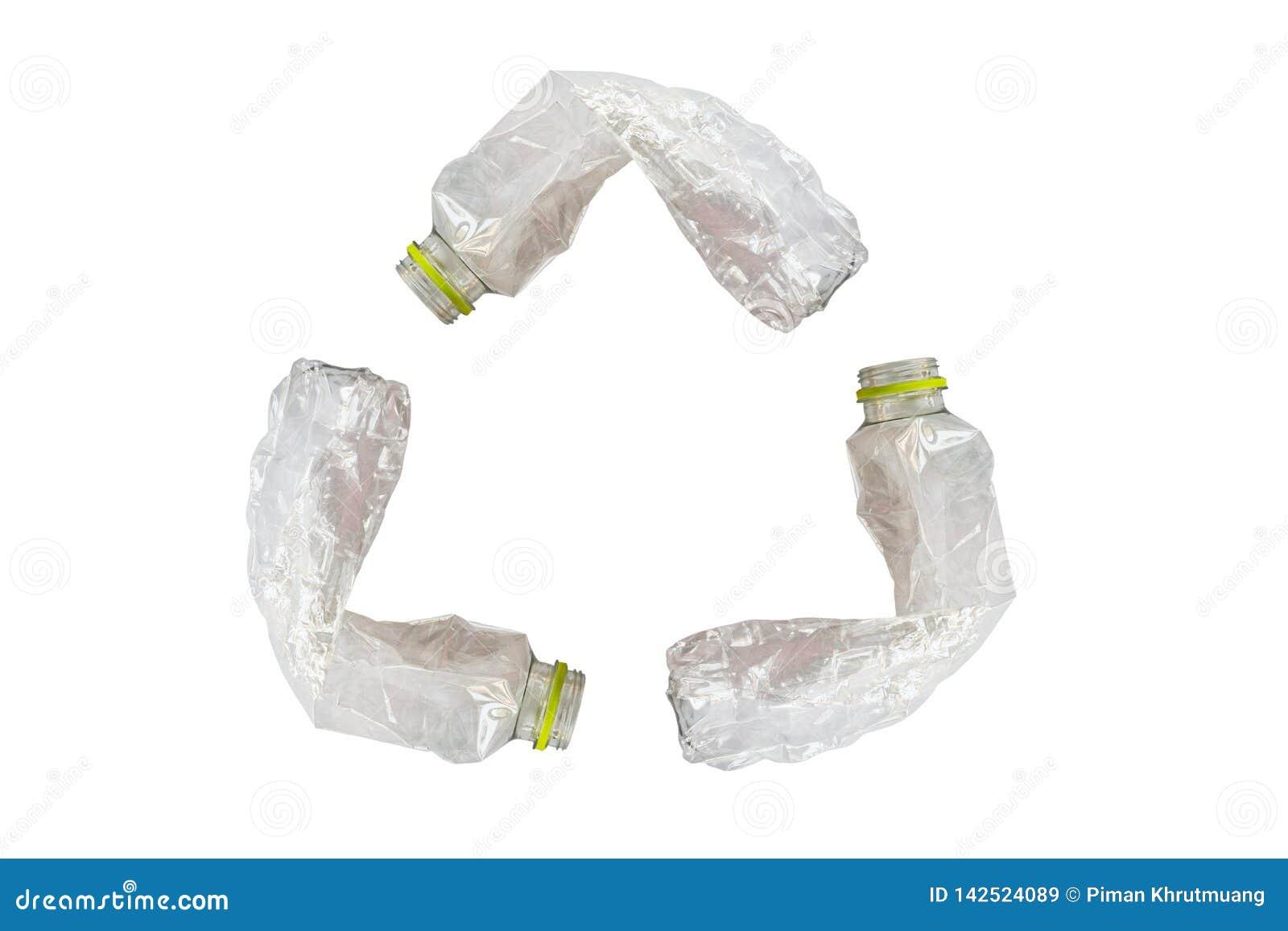 Bouteilles en plastique réutilisant le symbole d isolement sur le blanc