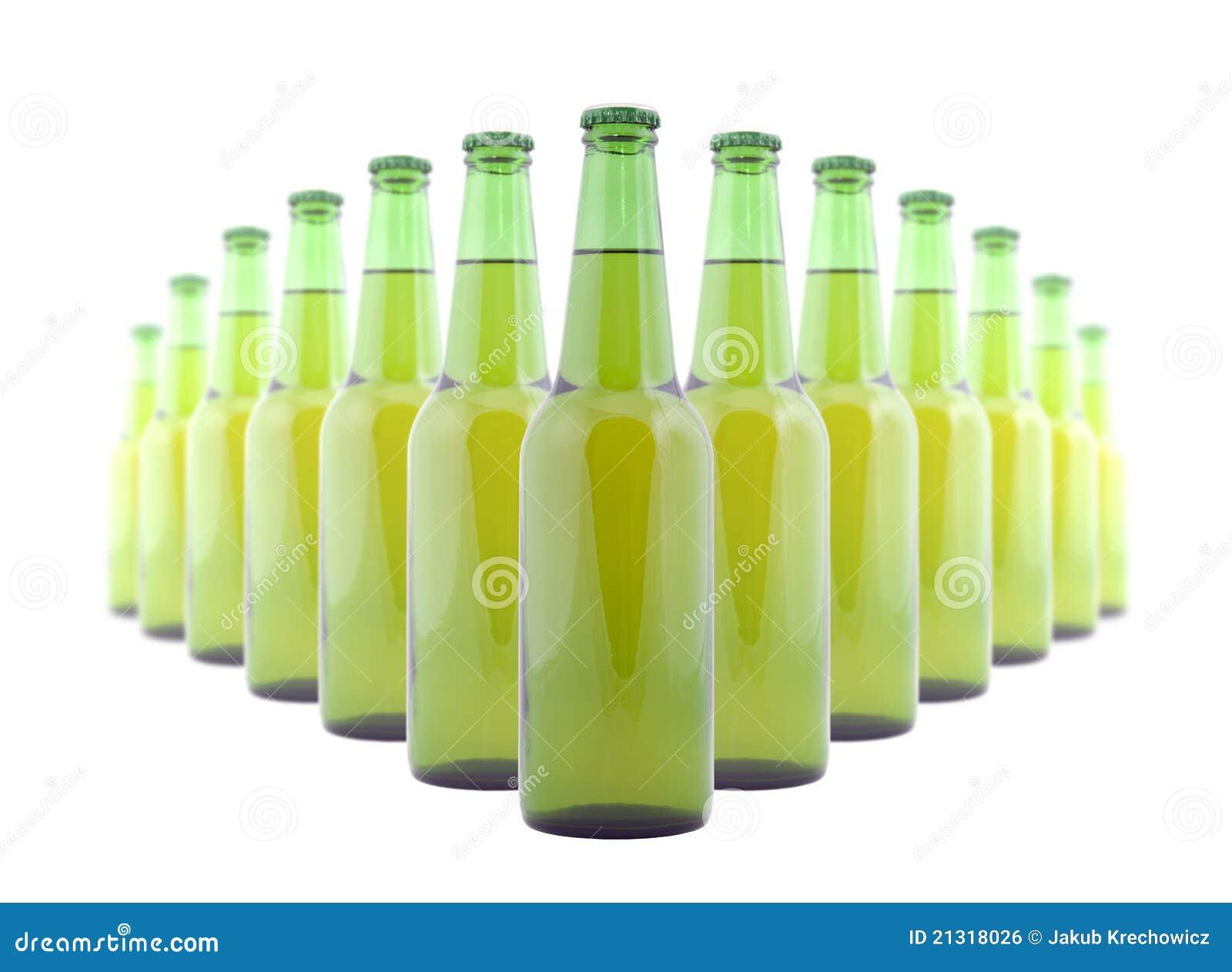 Bouteilles vertes de bière
