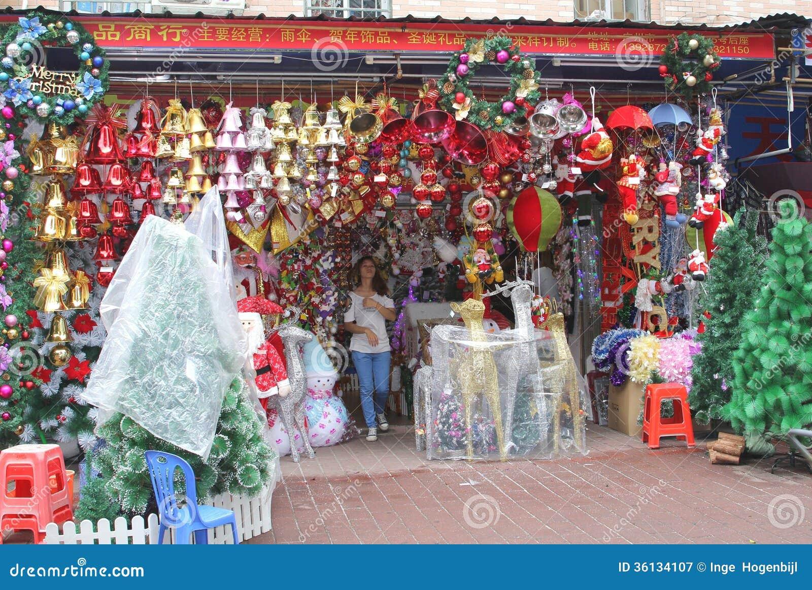 Boutique avec des décorations de Noël dans Guangzhou Chine