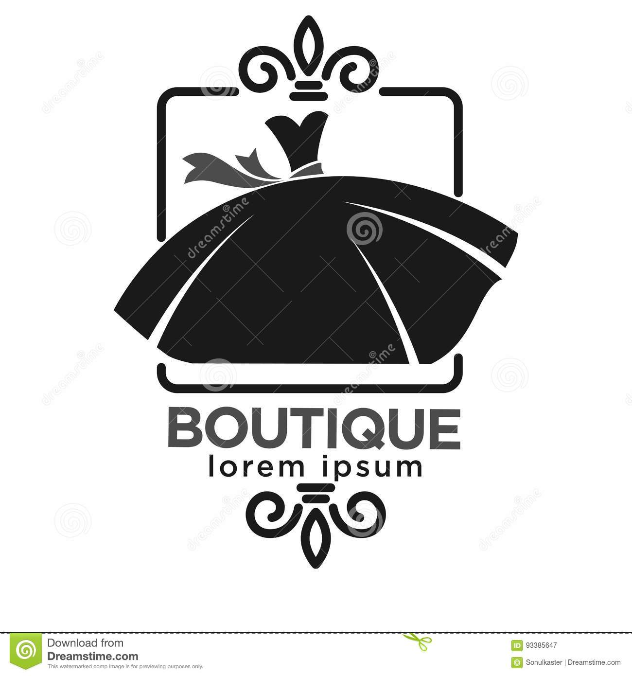 Boutique Black Logo Label With Dress On White Stock Vector ...