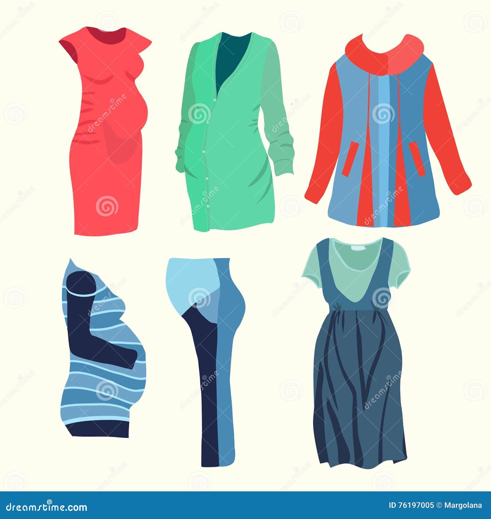 30dddc30a Vector la colección del ejemplo de ropa de moda para la mujer embarazada  elegante Boutique de la moda para la mirada de la moda de la mujer  embarazada