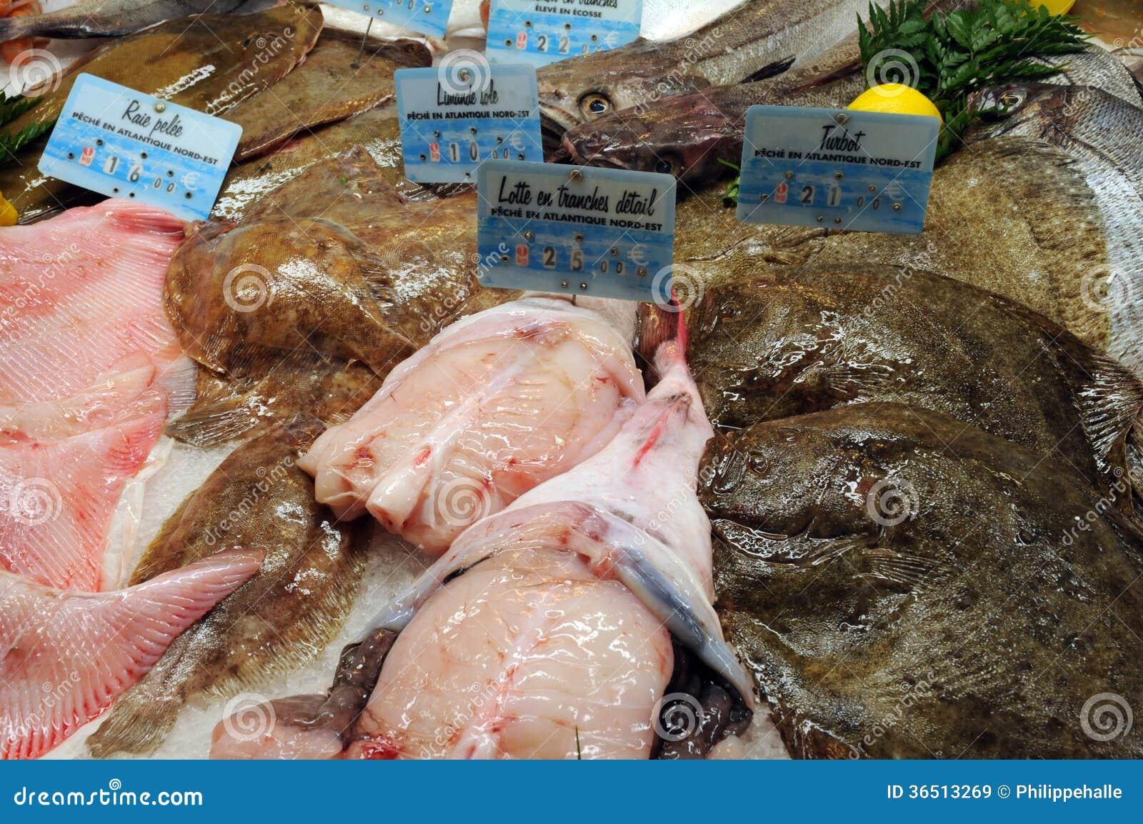 Boutique de poissons dans la ville de Honfleur