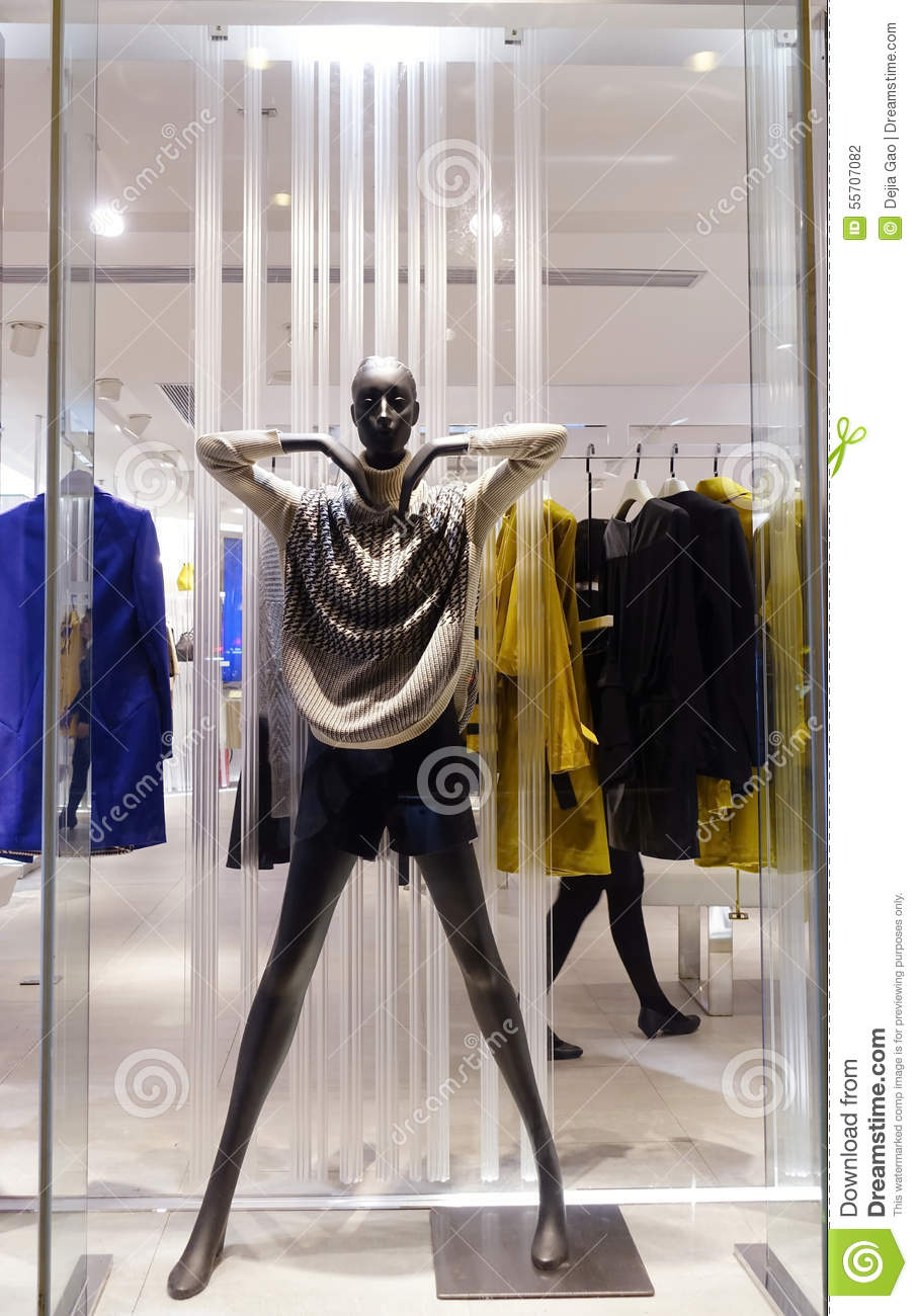 Black Female Mannequin In Fashion Women Boutique Clothes Shop Display