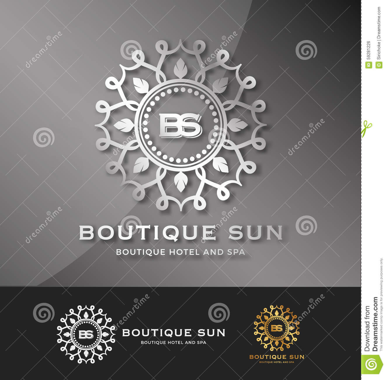 Boutique hotel and spa logo design stock vector image for Hotel logo design samples