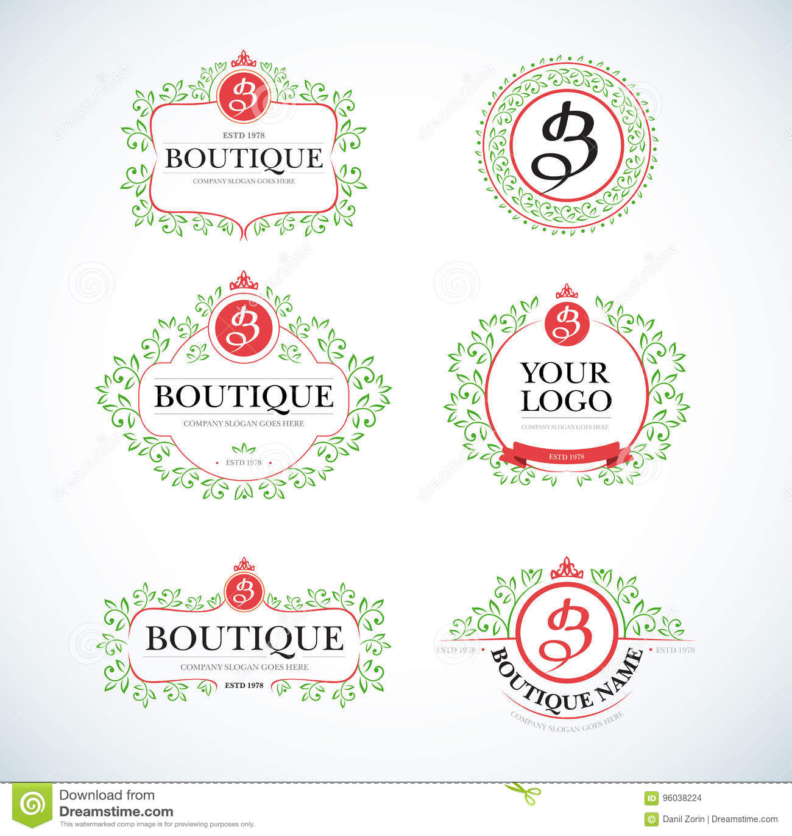boutique luxury vintage crests logo templates set business sign