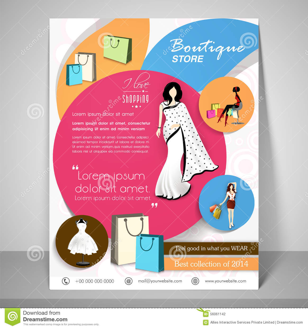 Boutique Store Template, Banner Or Flyer Design  Stock Illustration