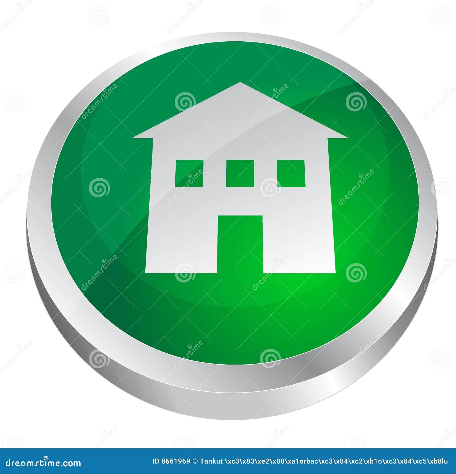 Bouton à la maison brillant vert