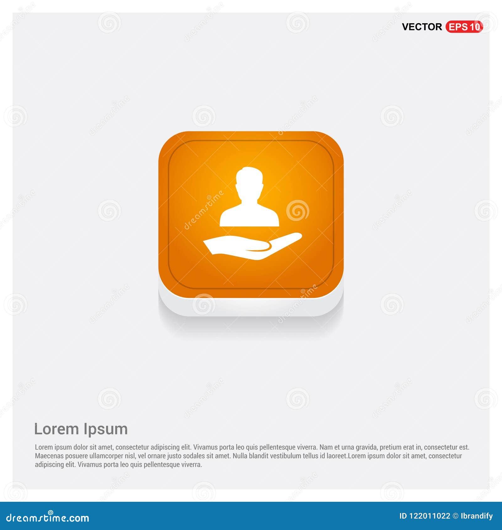 Bouton abstrait orange de Web d icône disponible d utilisateur