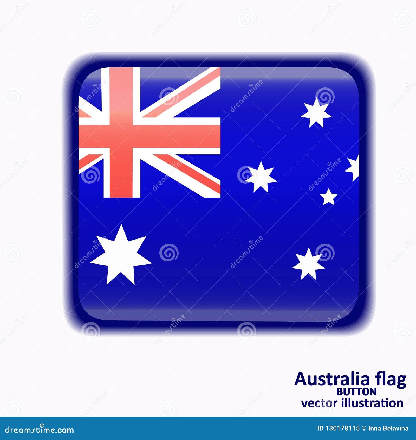 Bouton avec le drapeau de l Australie Vecteur
