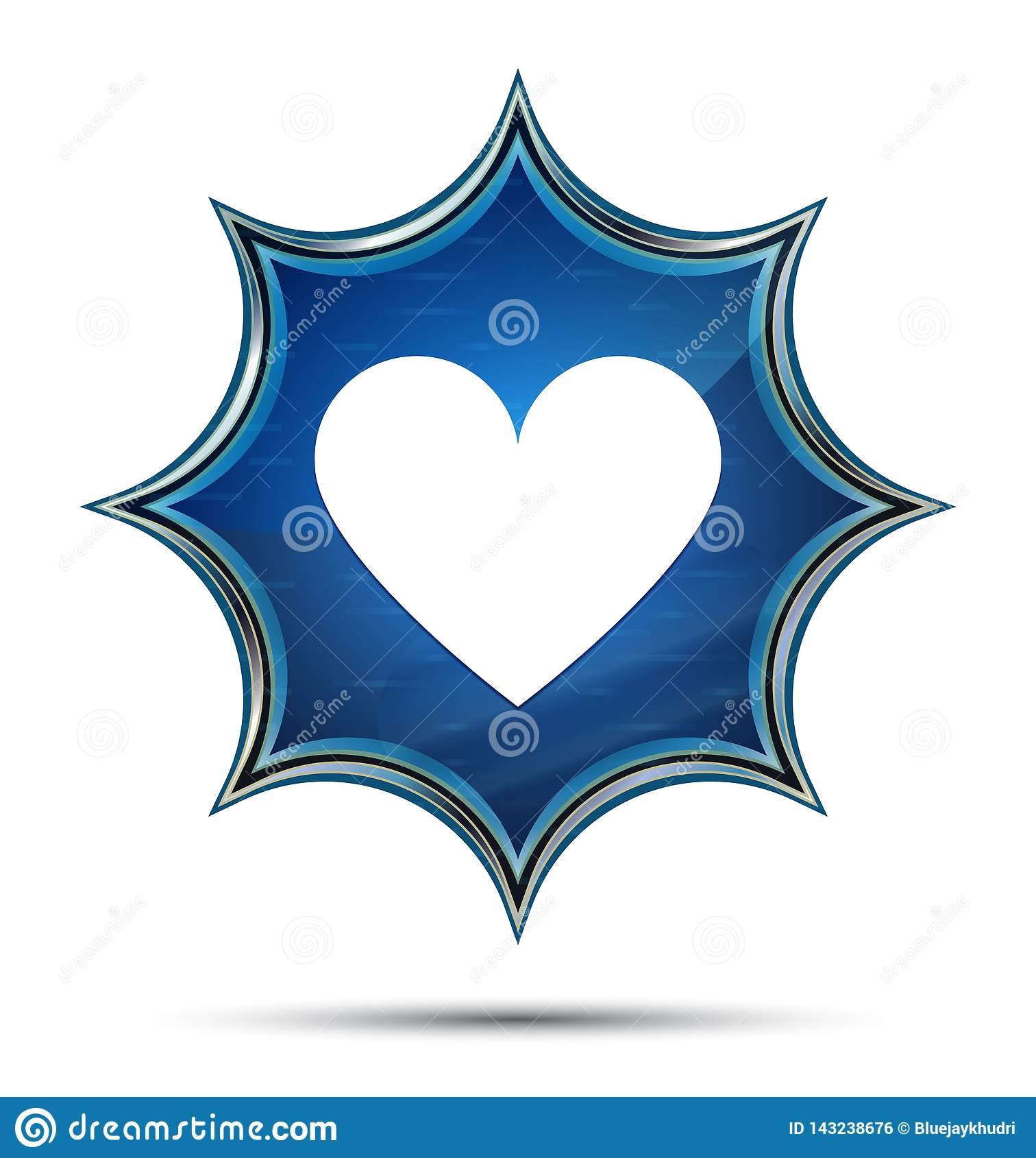 Bouton bleu de rayon de soleil vitreux magique d icône de coeur