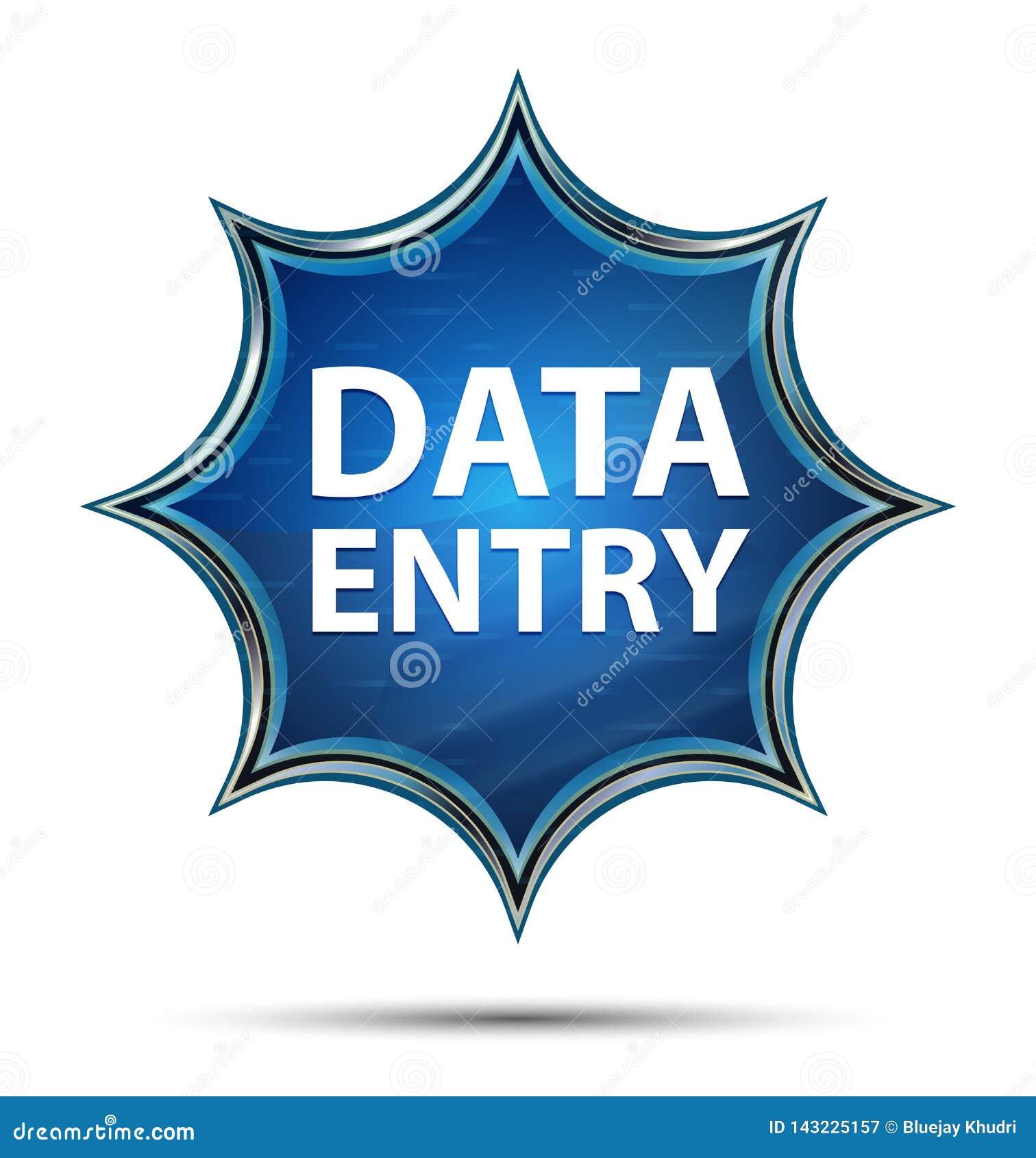 Bouton bleu de rayon de soleil vitreux magique de saisie de données