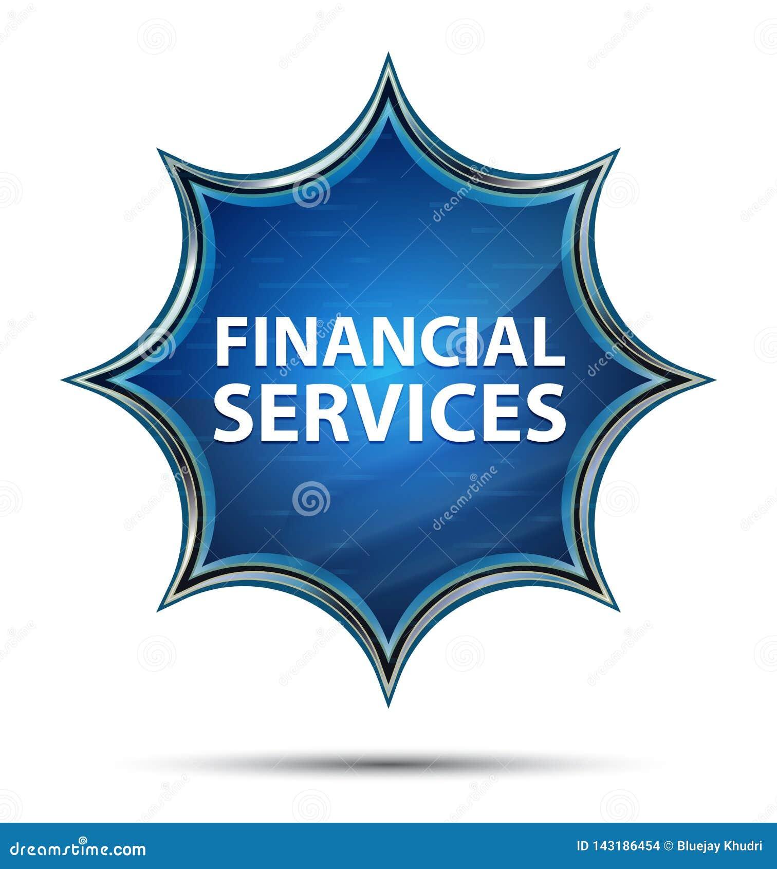 Bouton bleu de rayon de soleil vitreux magique de services financiers