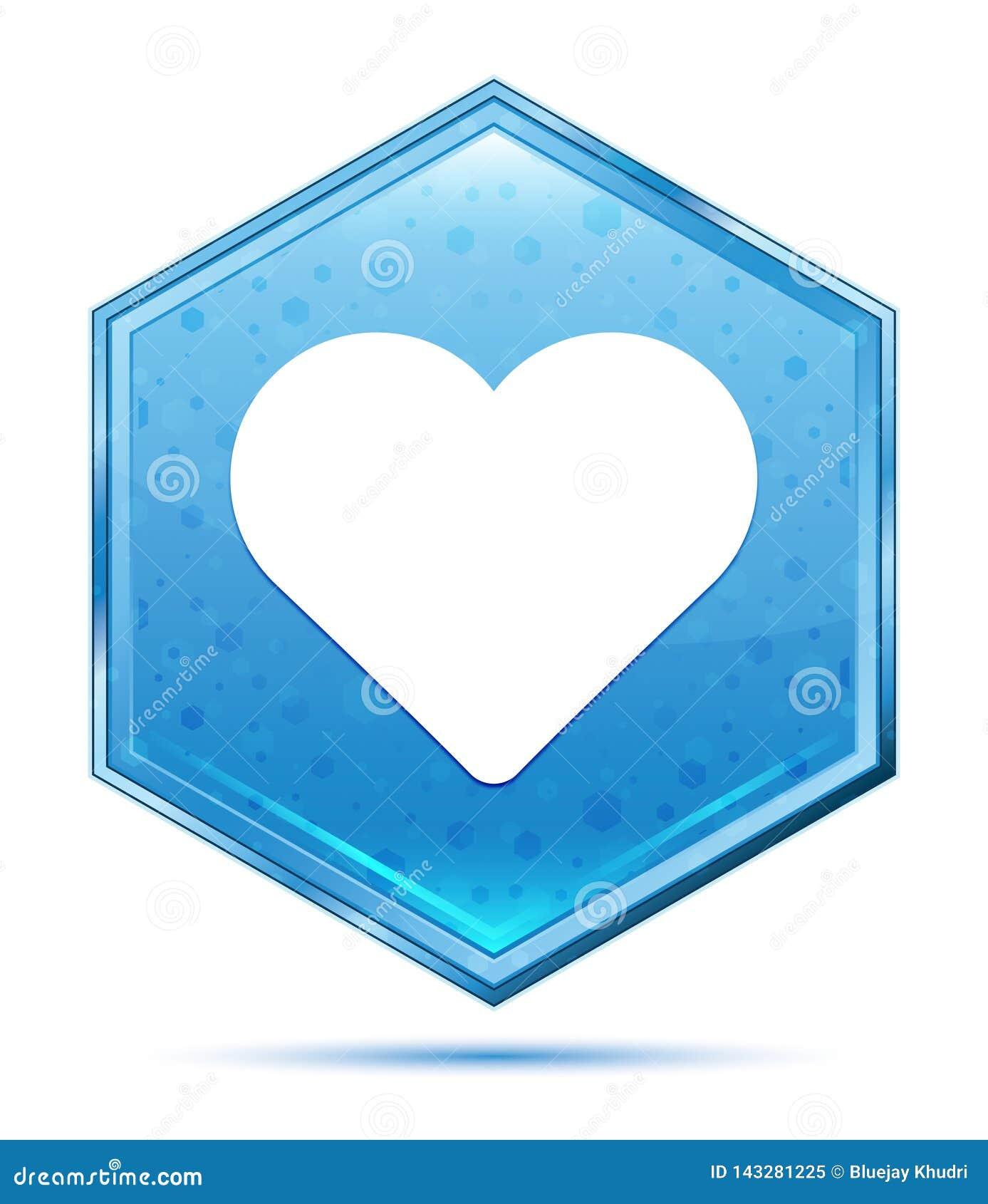 Bouton bleu en cristal d hexagone d icône de coeur