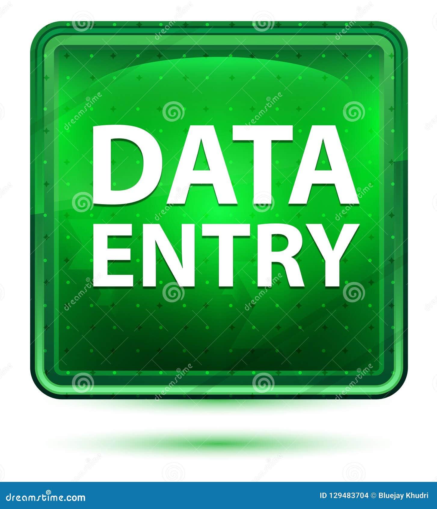Bouton carré vert clair au néon de saisie de données