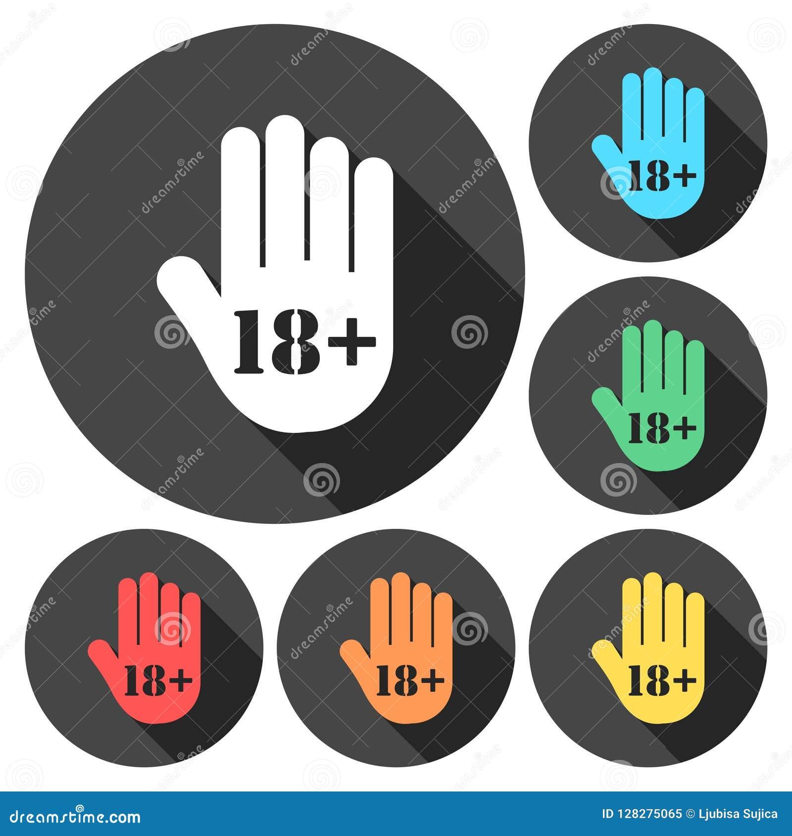 Bouton de limite d âge, icône de main d arrêt