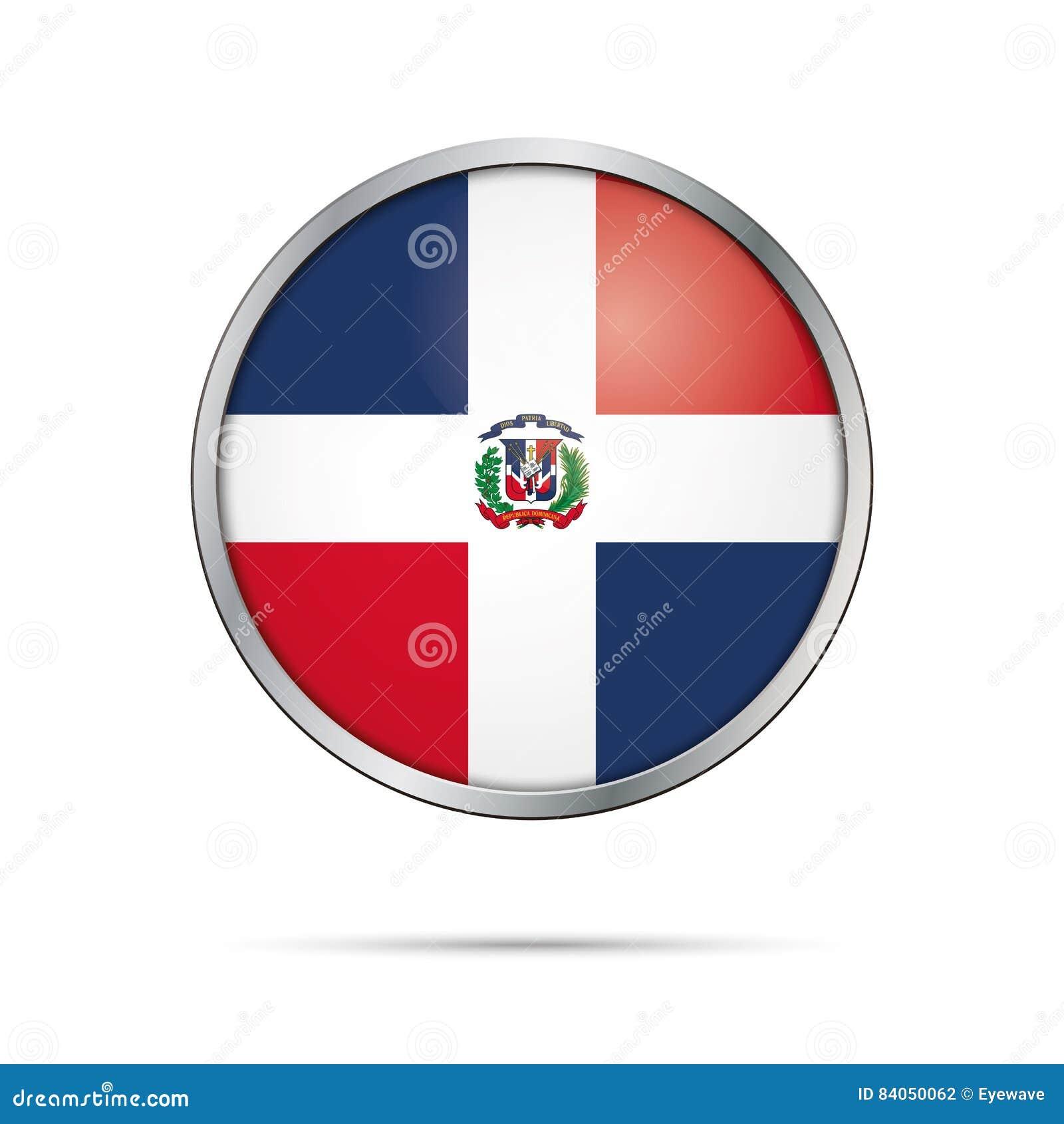 Bouton dominicain de drapeau de vecteur République de drapeau de la Dominique en verre
