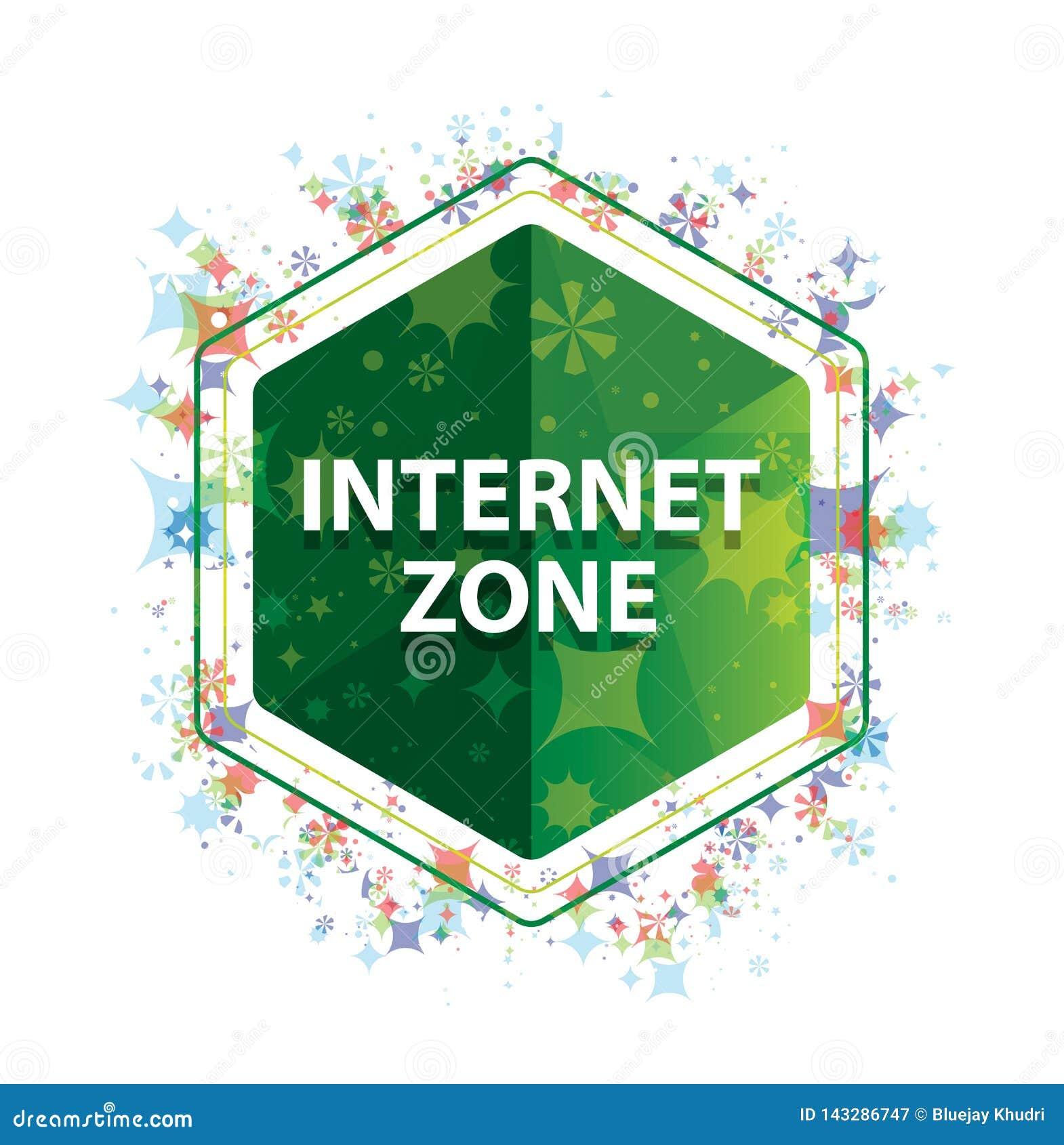 Bouton floral d hexagone de vert de modèle d usines de zone d Internet