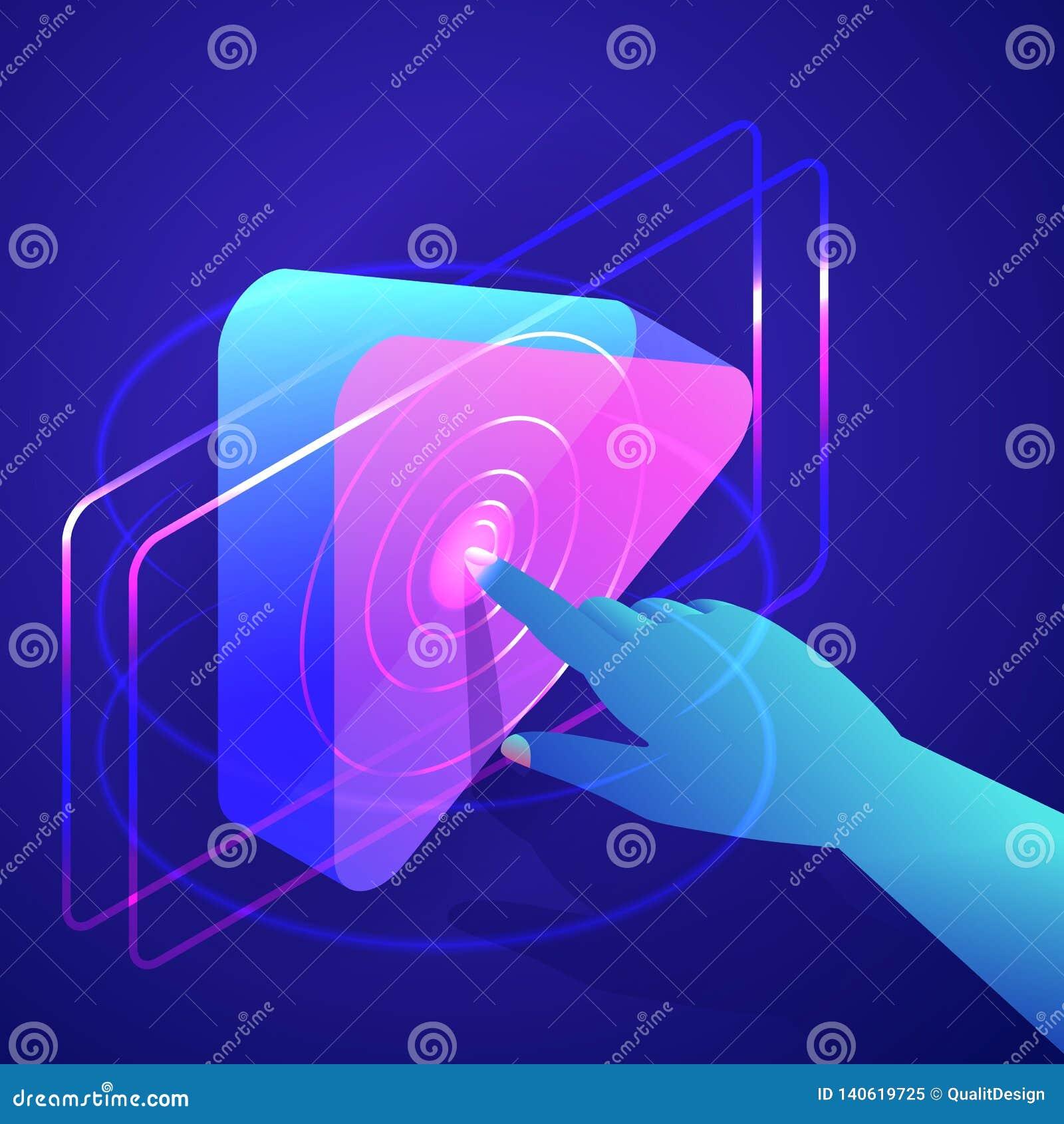 Bouton humain de jeu de presse de main Vidéo, interface de media player de musique Illustration isométrique au néon des gradients