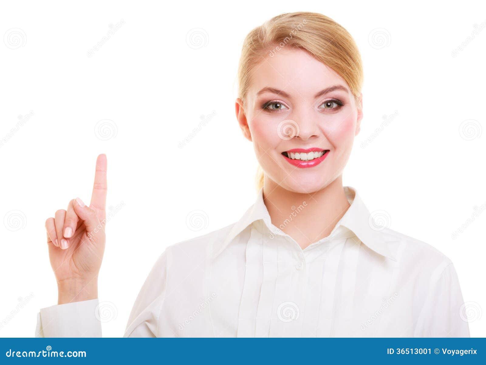 Bouton ou pointage de pressing de femme d affaires d isolement