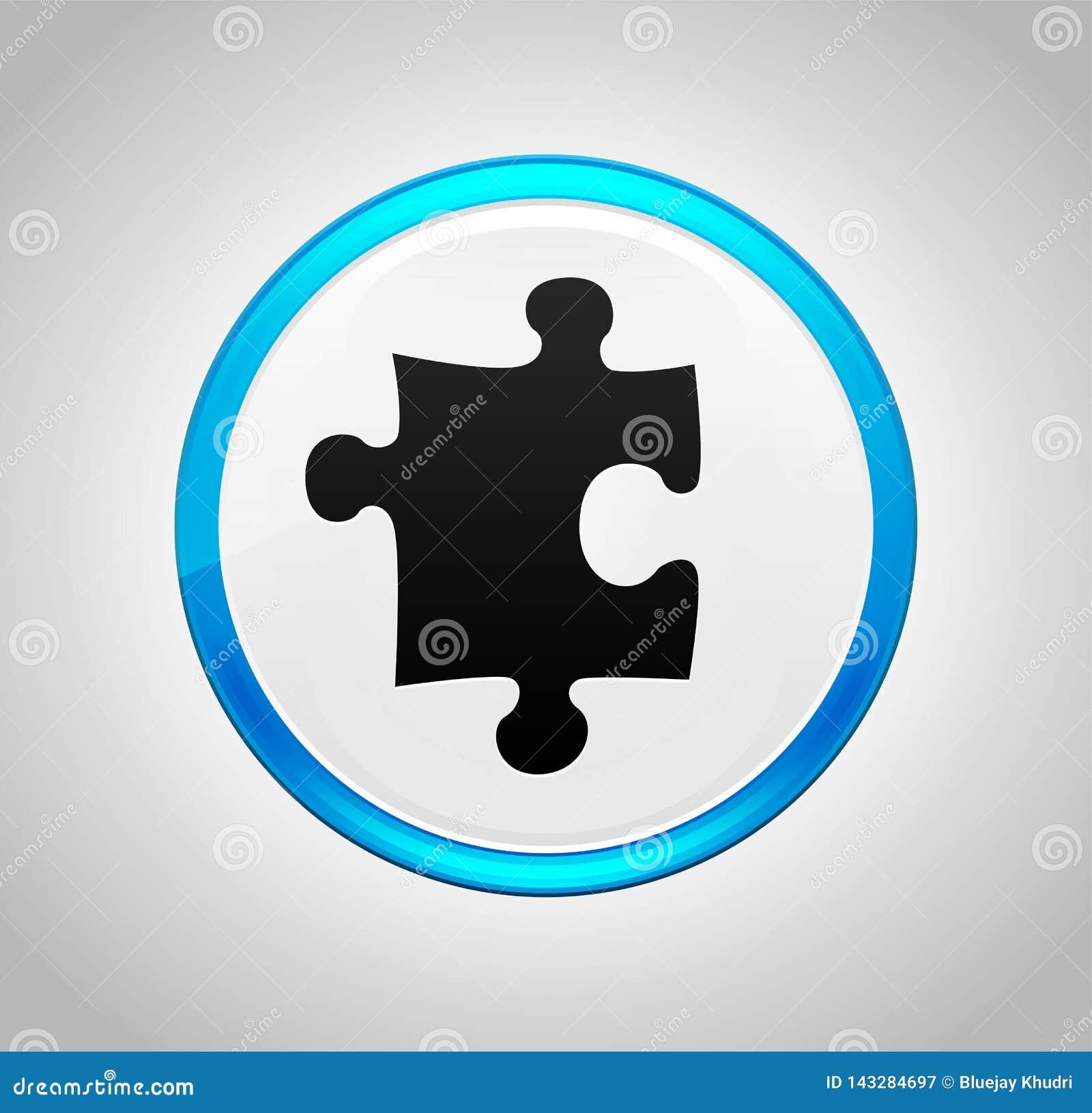 Bouton poussoir bleu rond d icône de puzzle