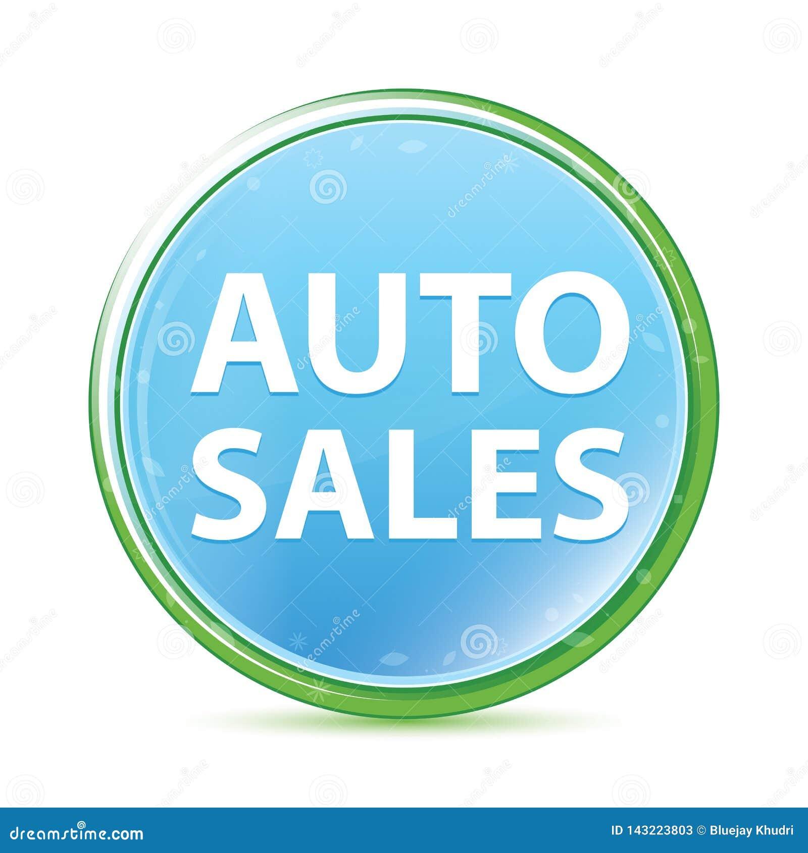 Bouton rond bleu cyan d aqua naturel de ventes automatiques